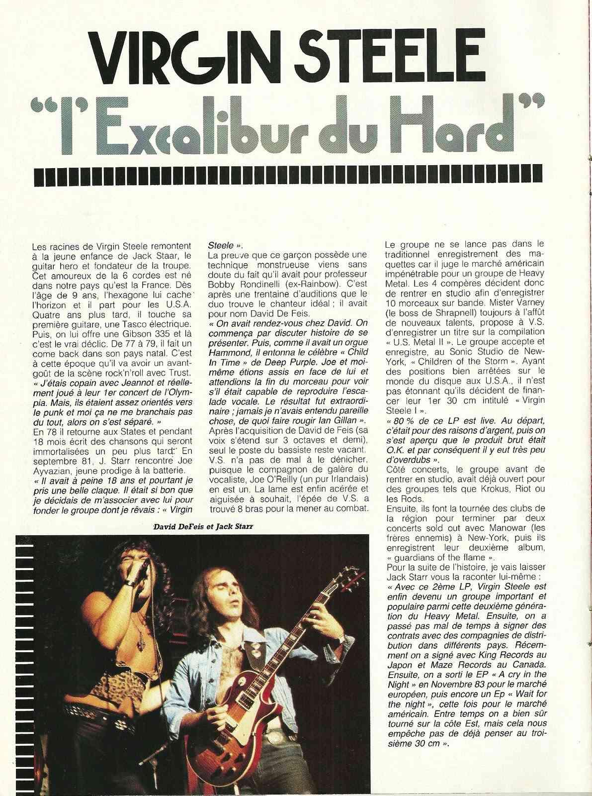 "VIRGIN STEEL L'excalibur du hard ! (Archive ""Metal Attack"" Mars 1984) Numyri22"