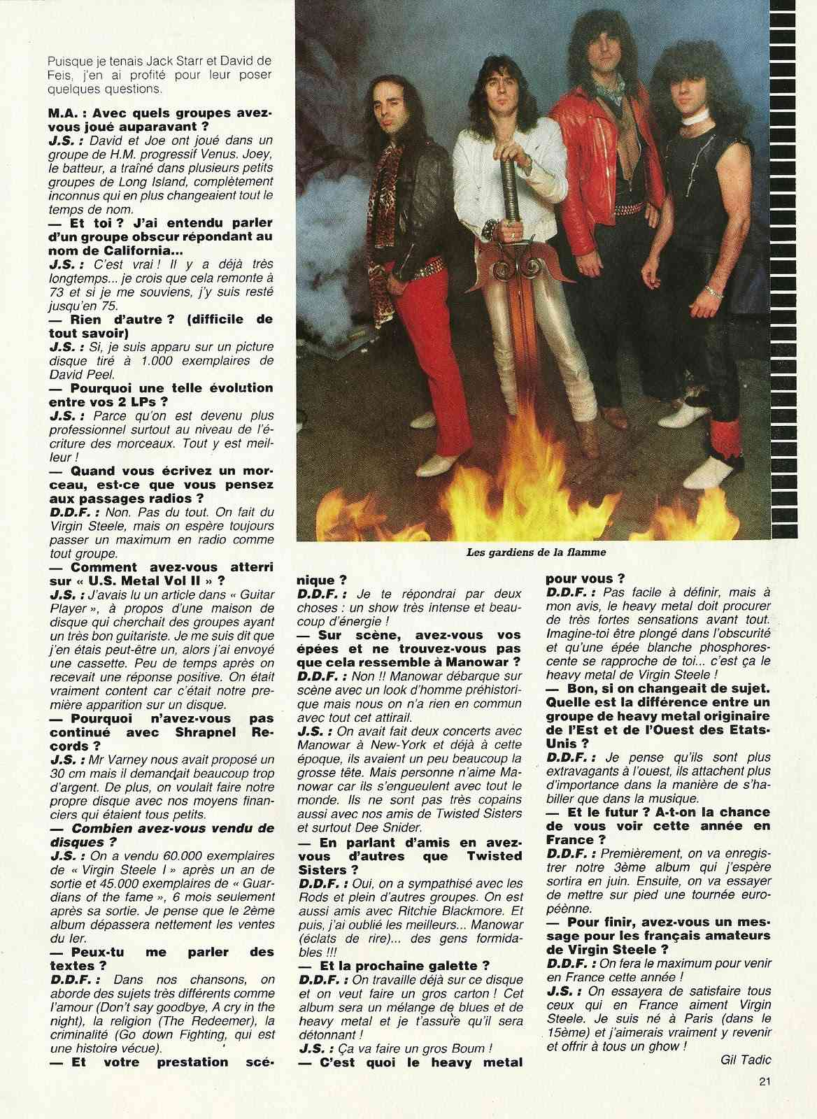 "VIRGIN STEEL L'excalibur du hard ! (Archive ""Metal Attack"" Mars 1984) Numyri23"