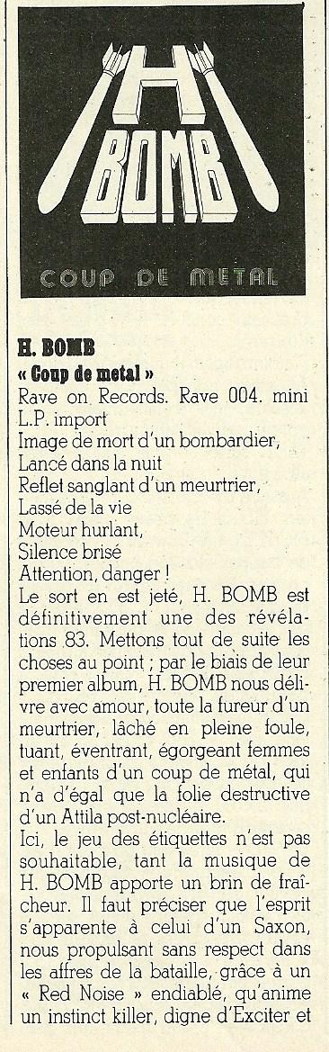 """H-BOMB Coup de metal (Chronique """"Enfer Magazine"""" Novembre 1983) Numyri24"""