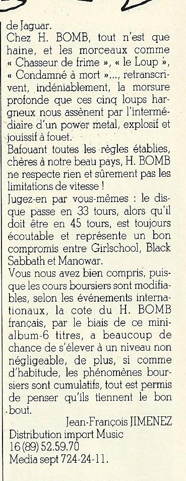 """H-BOMB Coup de metal (Chronique """"Enfer Magazine"""" Novembre 1983) Numyri25"""