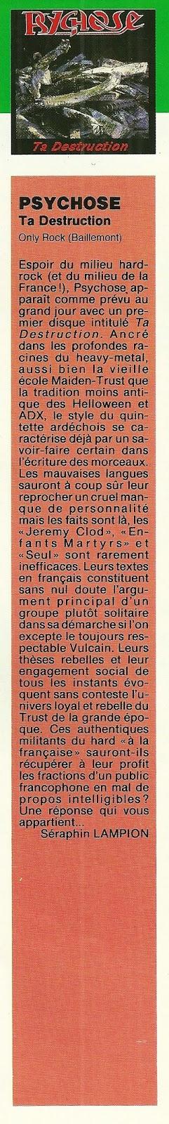 PSYCHOSE Ta destruction (1991-2017) Edition No Remorse Records (Christophe Bailet) Numyri29