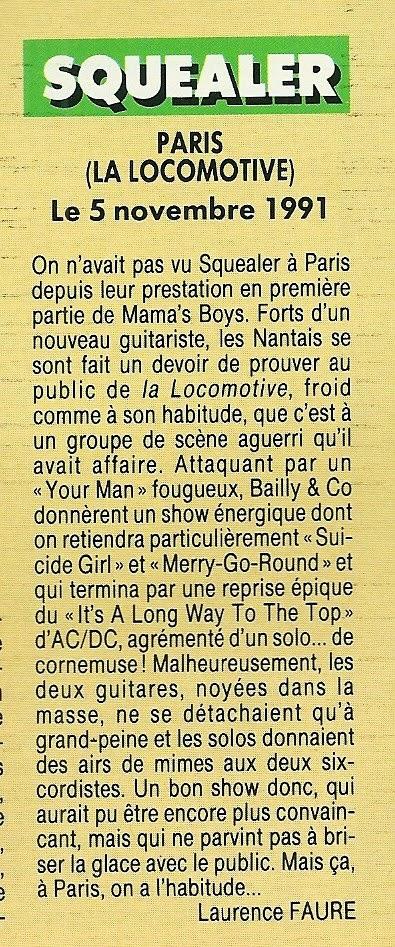 """SQUEALER à la Locomotive le 05 novembre 1991 (article sur """"Hard Rock Magazine"""" Janvier 1992) Numyri30"""