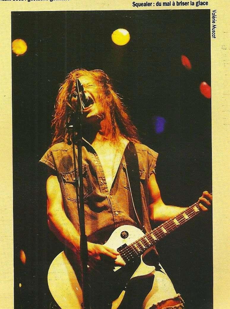 """SQUEALER à la Locomotive le 05 novembre 1991 (article sur """"Hard Rock Magazine"""" Janvier 1992) Numyri31"""