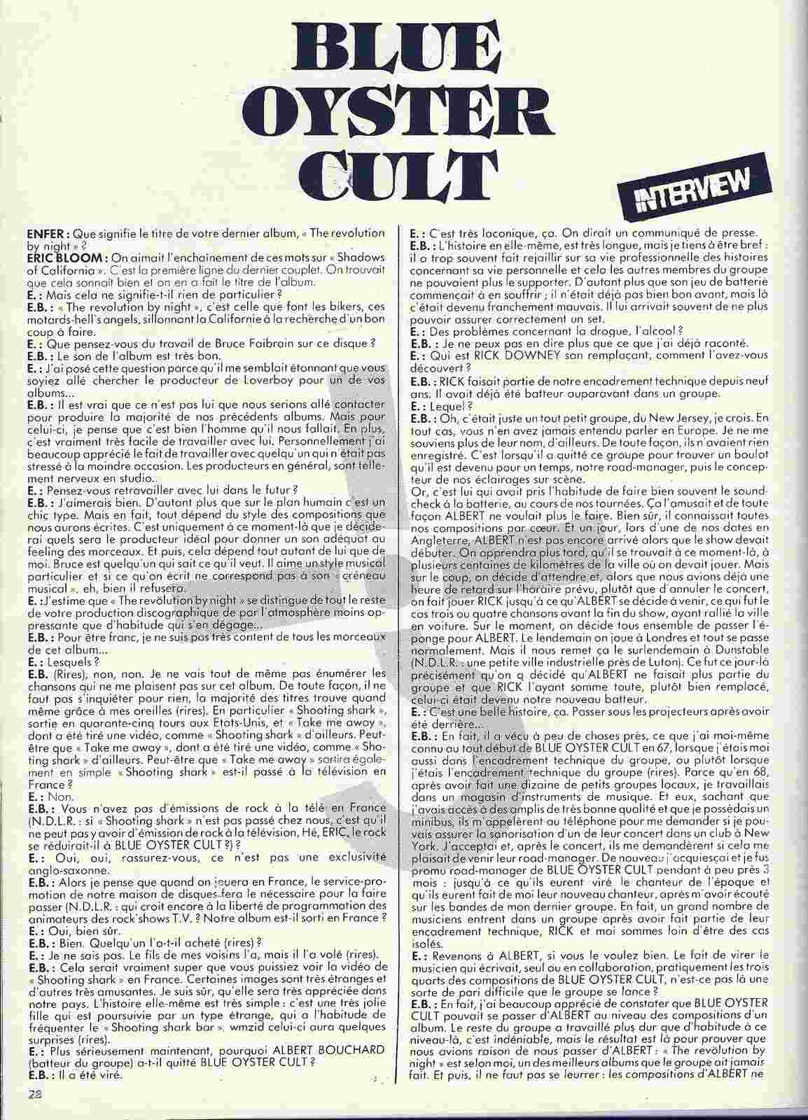 Interview BLUE ÖYSTER CULT (Enfer Magazine Février 1986) Archive à lire Numyri32