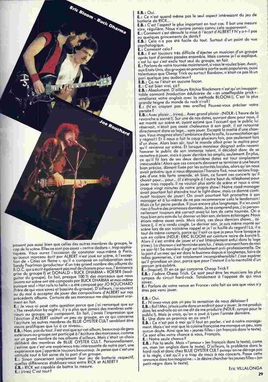 Interview BLUE ÖYSTER CULT (Enfer Magazine Février 1986) Archive à lire Numyri33