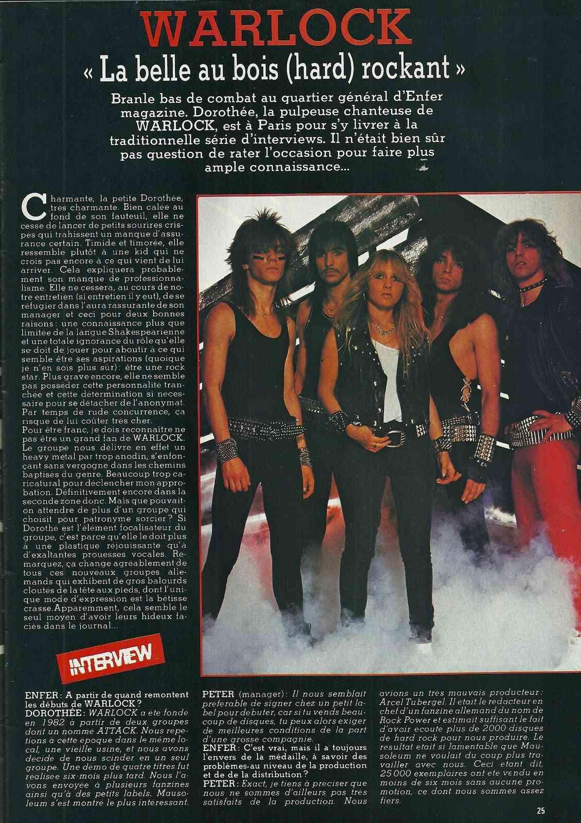 "WARLOCK ""La Belle au bois (hard) rockant"" Enfer Magazine Avril 1985 Archive à lire Numyri34"