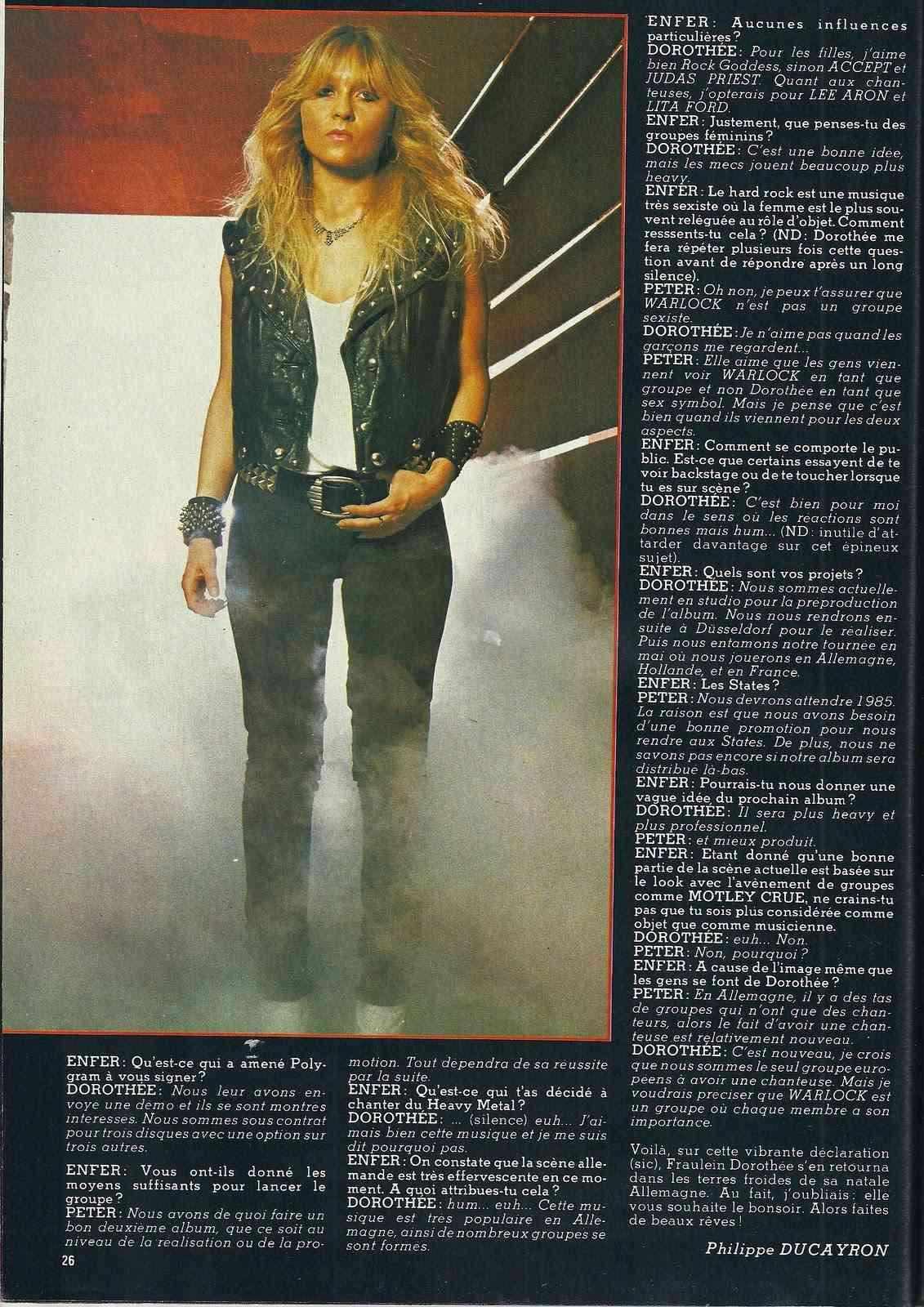 "WARLOCK ""La Belle au bois (hard) rockant"" Enfer Magazine Avril 1985 Archive à lire Numyri35"
