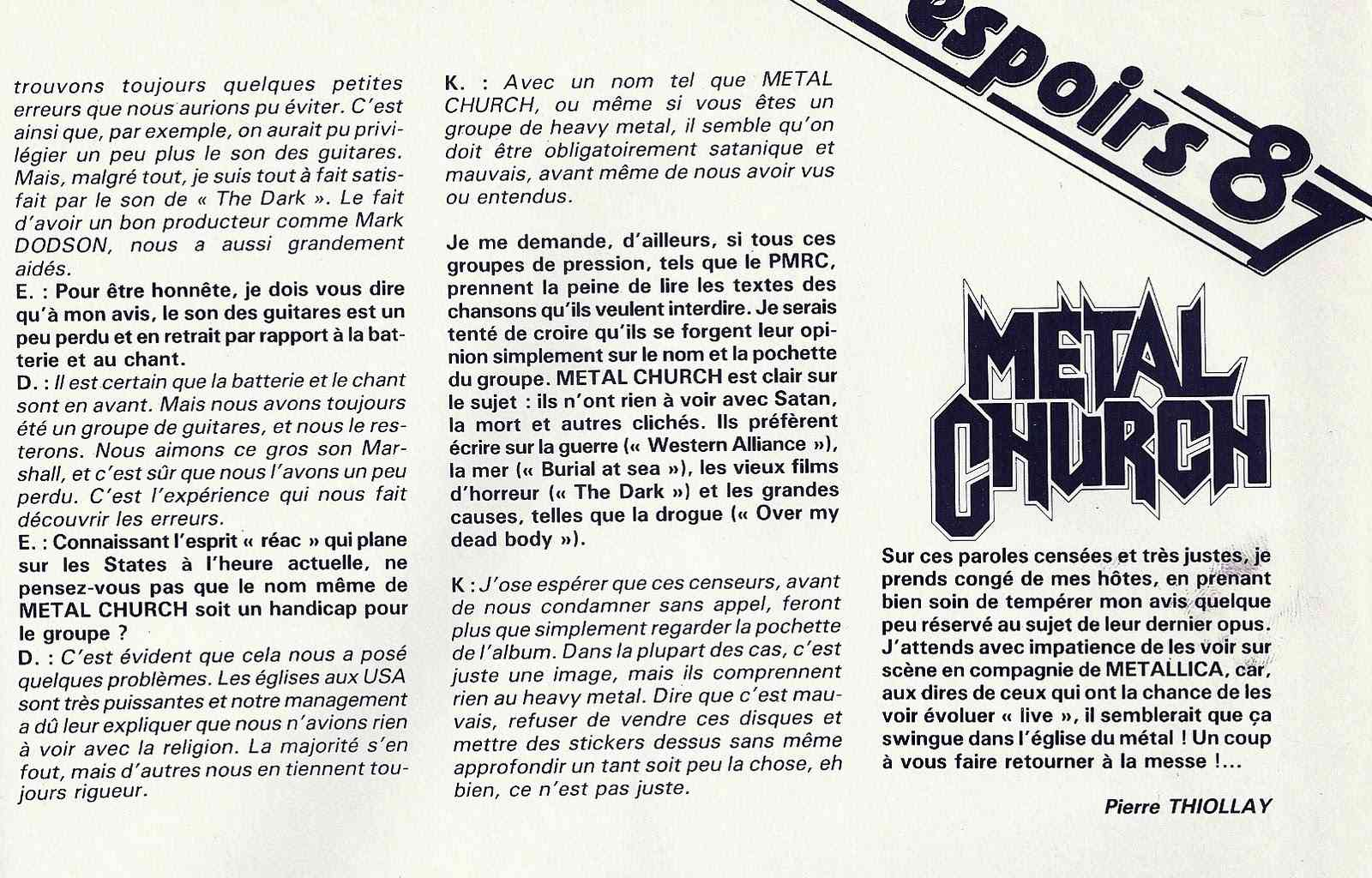 METAL CHURCH ... espoirs 87 (Enfer Magazine Février 1987) Archive à lire Numyri36