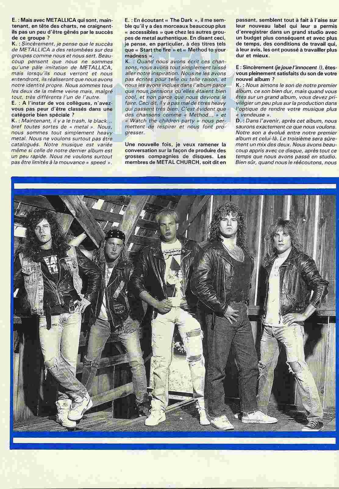 METAL CHURCH ... espoirs 87 (Enfer Magazine Février 1987) Archive à lire Numyri37