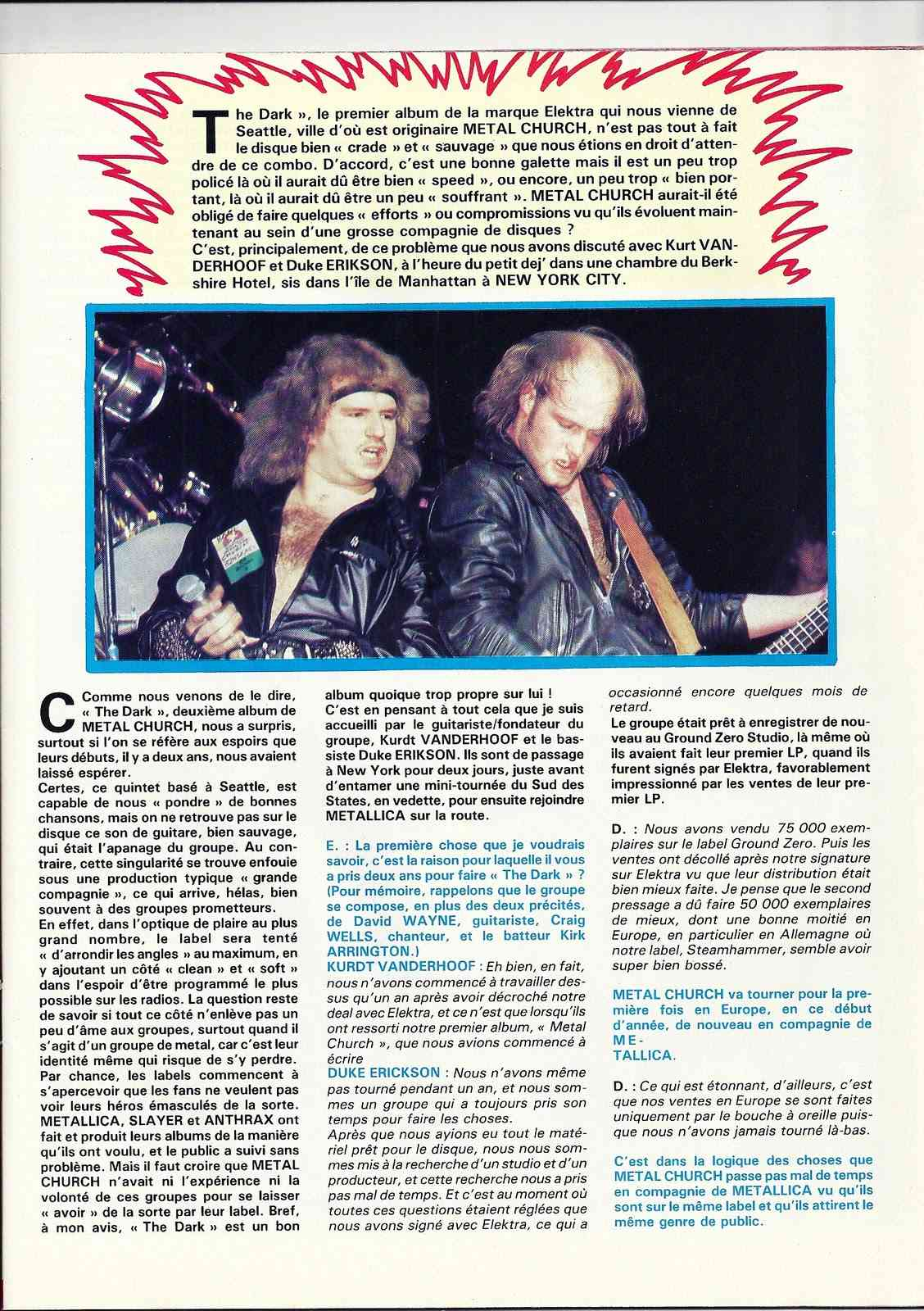 METAL CHURCH ... espoirs 87 (Enfer Magazine Février 1987) Archive à lire Numyri39