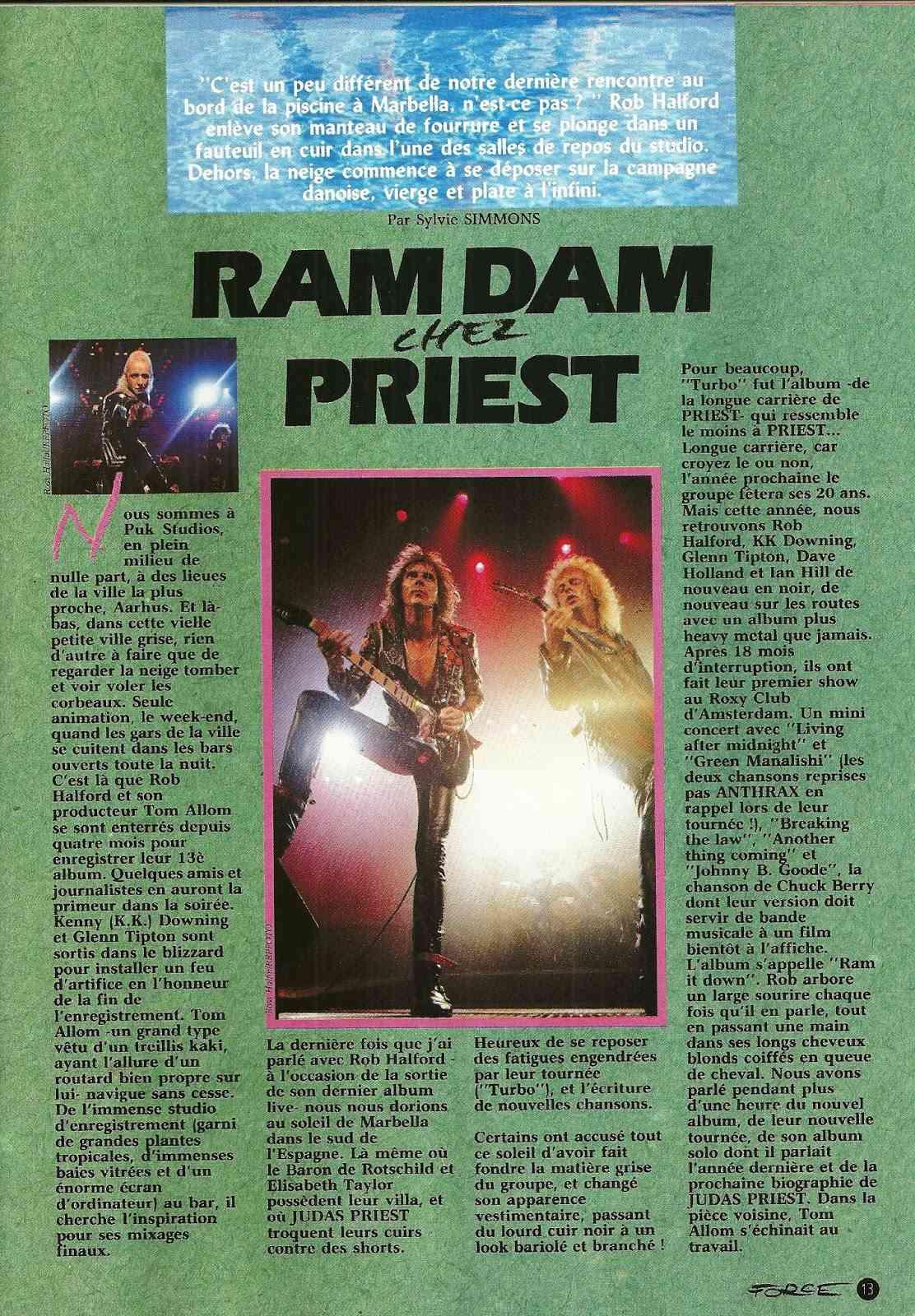 JUDAS PRIEST Ram Dam chez Priest (Hard Force Mai 1988) Archive à lire Numyri43