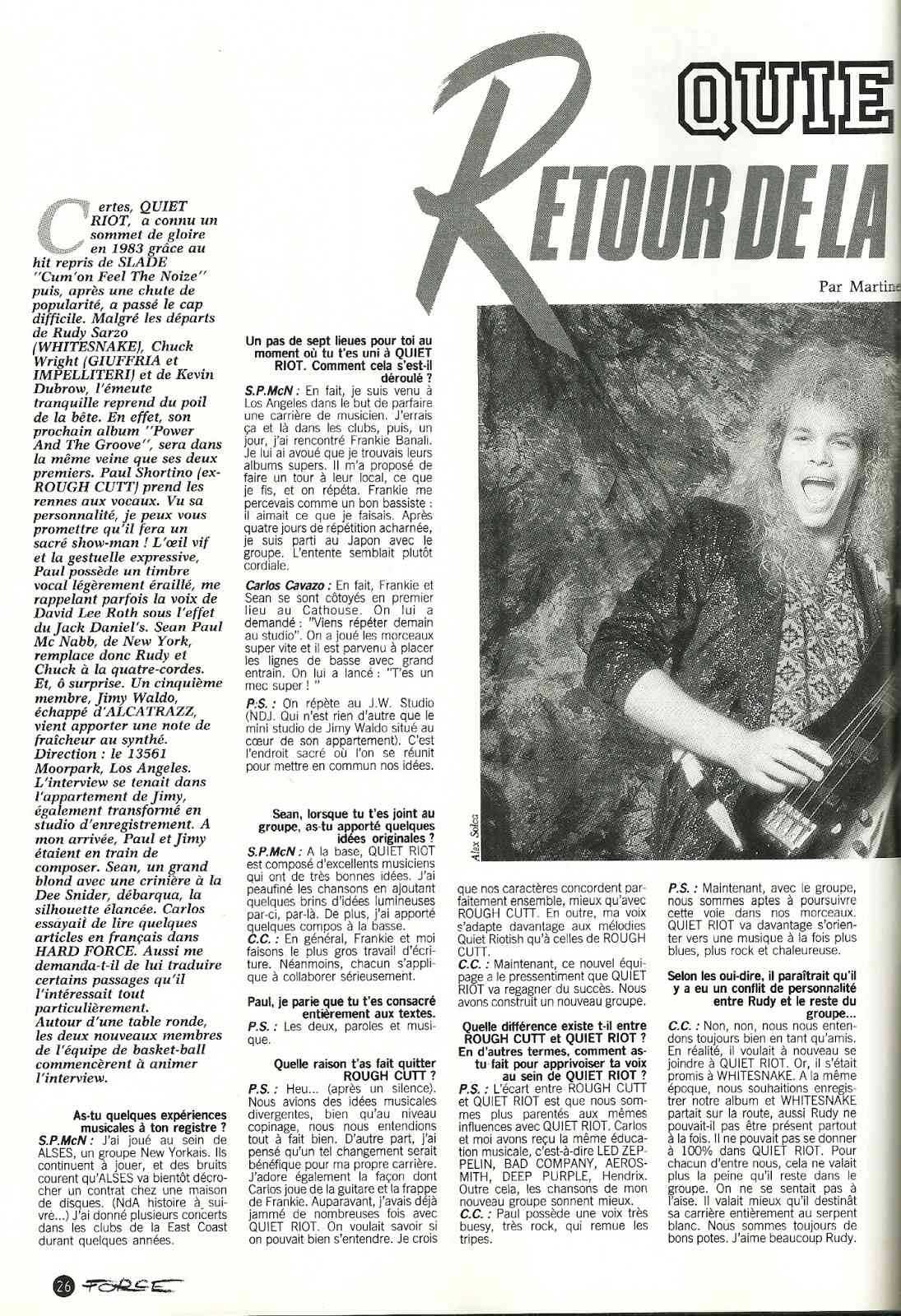 QUIET RIOT Retour de la Force Tranquille (HARD FORCE Septembre 1988) Archive à lire Numyri46