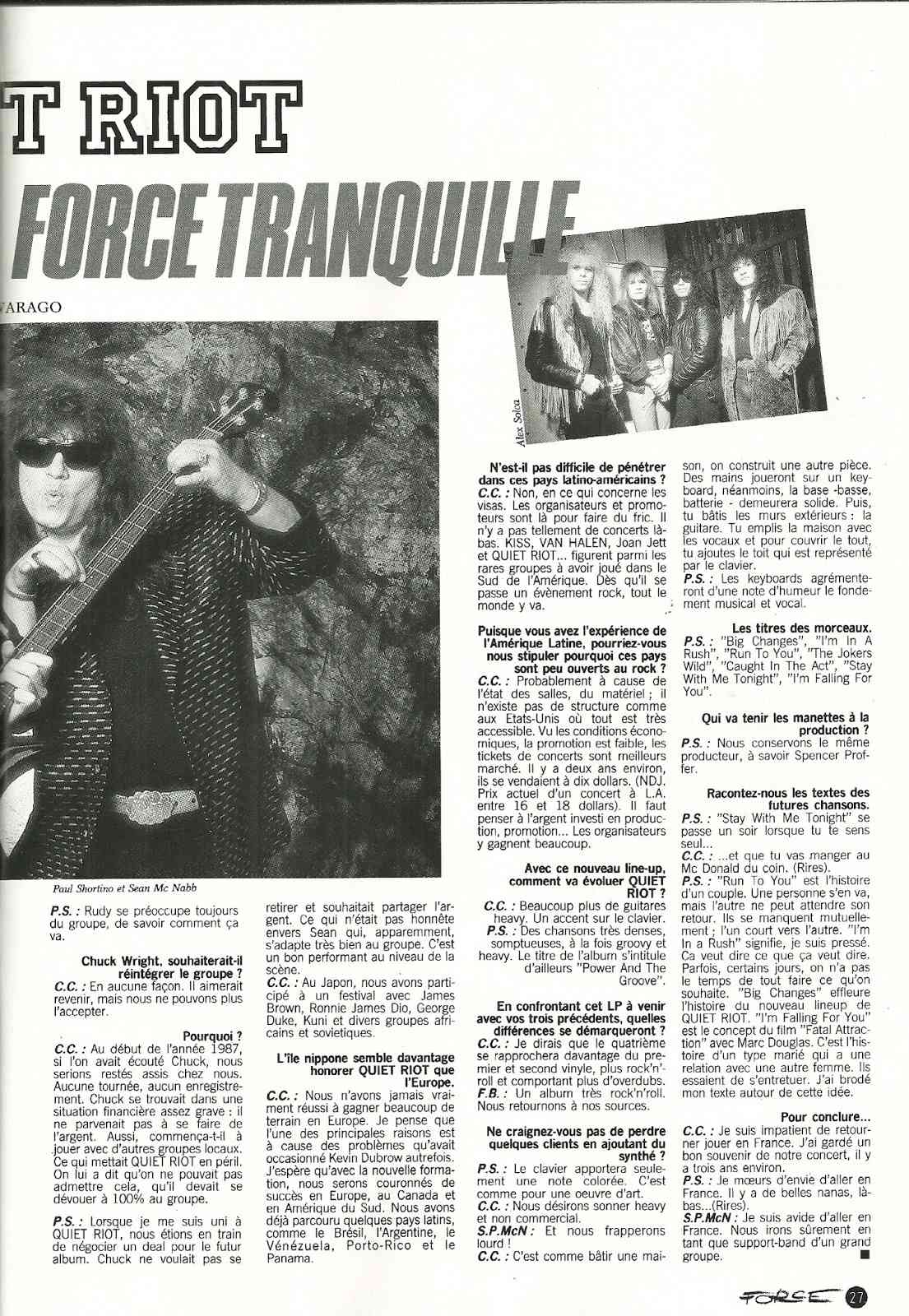QUIET RIOT Retour de la Force Tranquille (HARD FORCE Septembre 1988) Archive à lire Numyri47