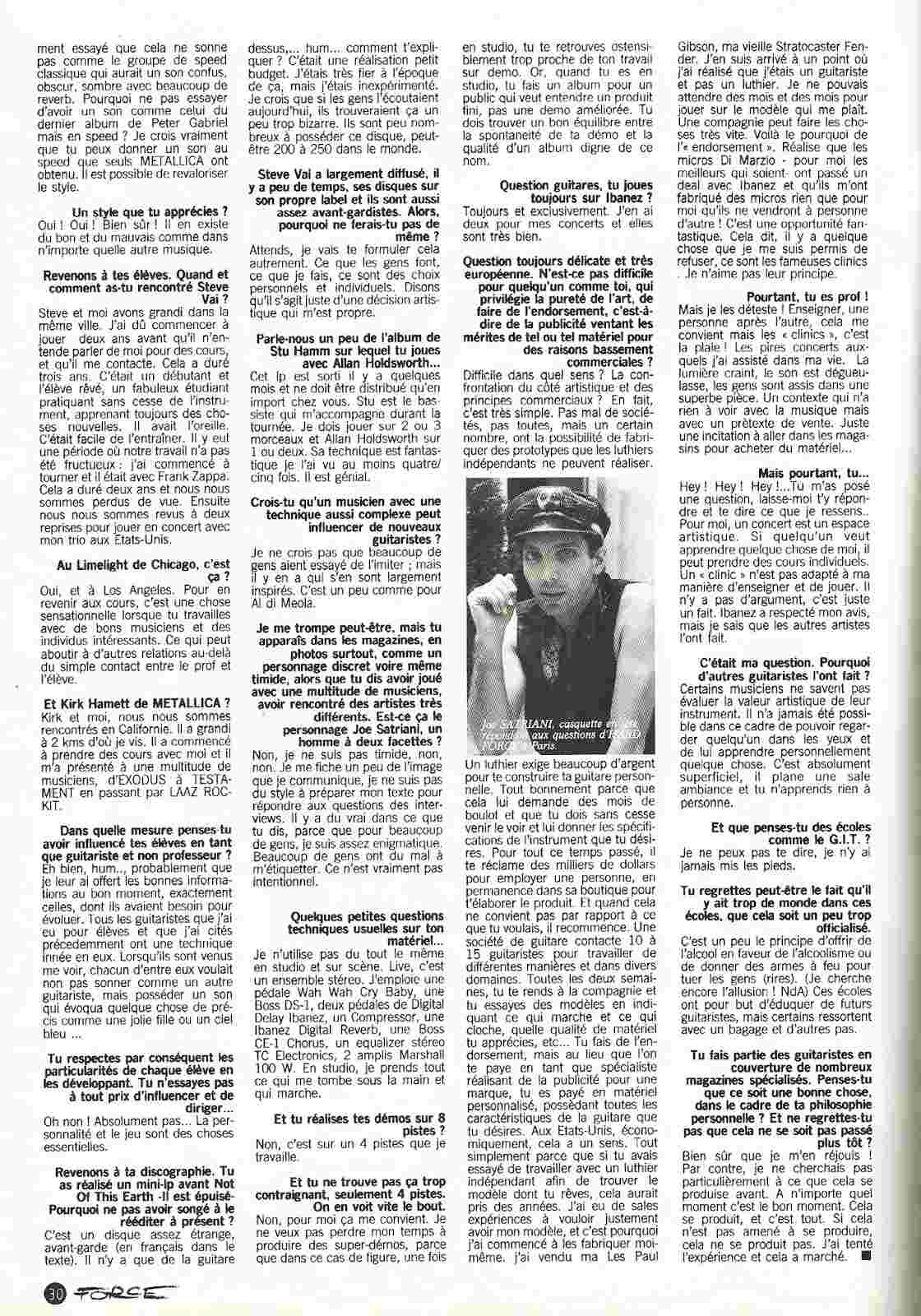 JOE SATRIANI Hey Joe ! (HARD FORCE Septembre 1988) Archive à lire Numyri49