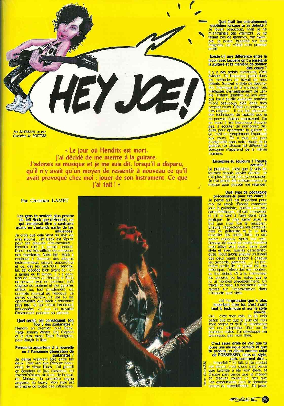 JOE SATRIANI Hey Joe ! (HARD FORCE Septembre 1988) Archive à lire Numyri50
