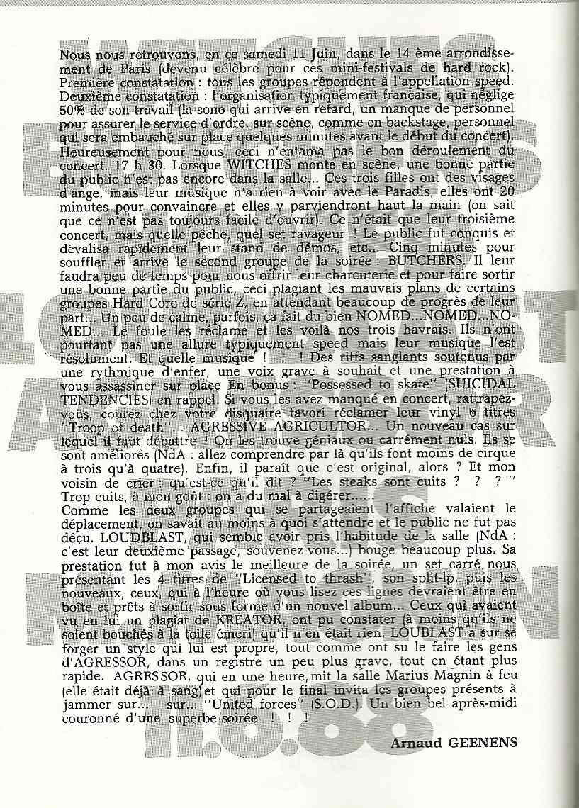 Witches, Butchers, Nomed, Agressive Agricultor, Loudblast à Paris (HARD FORCE Septembre 1988) Archive à lire  Numyri51