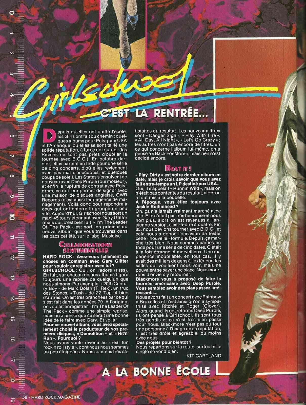 GIRLSCHOOL C'est la rentrée ... (HARD ROCK Magazine Juillet/Août 1996) Archive à lire Numyri54