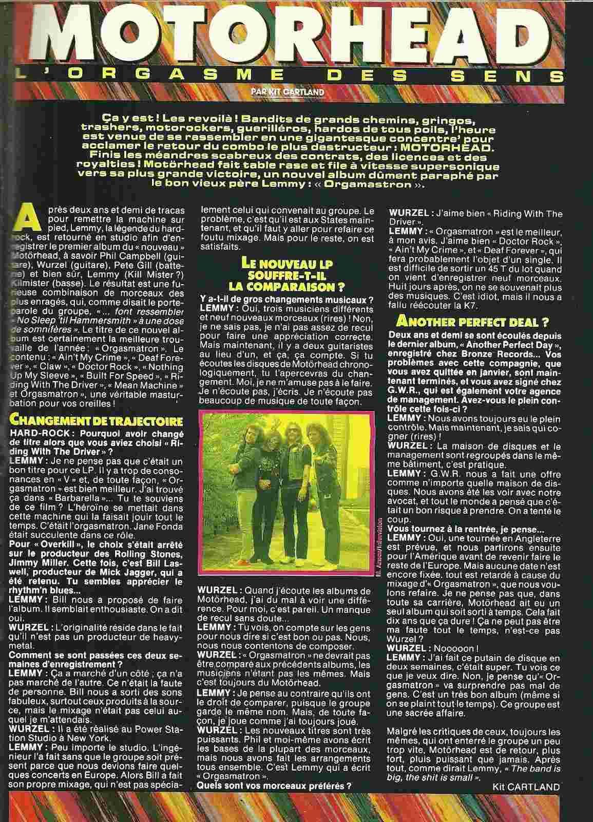 MOTÖRHEAD L'orgasme des sens (HARD ROCK Magazine Juillet/Août 1996) Archive à lire Numyri56