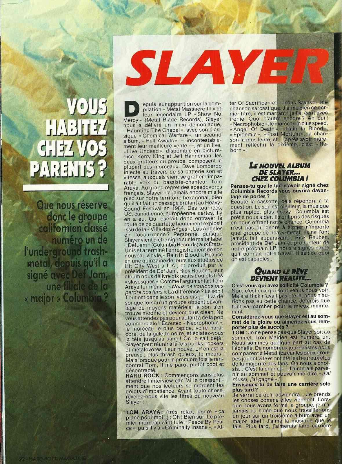 SLAYER Vous habitez chez vos parents ? (HARD ROCK Magazine Octobre 1986) Archive à lire Numyri62