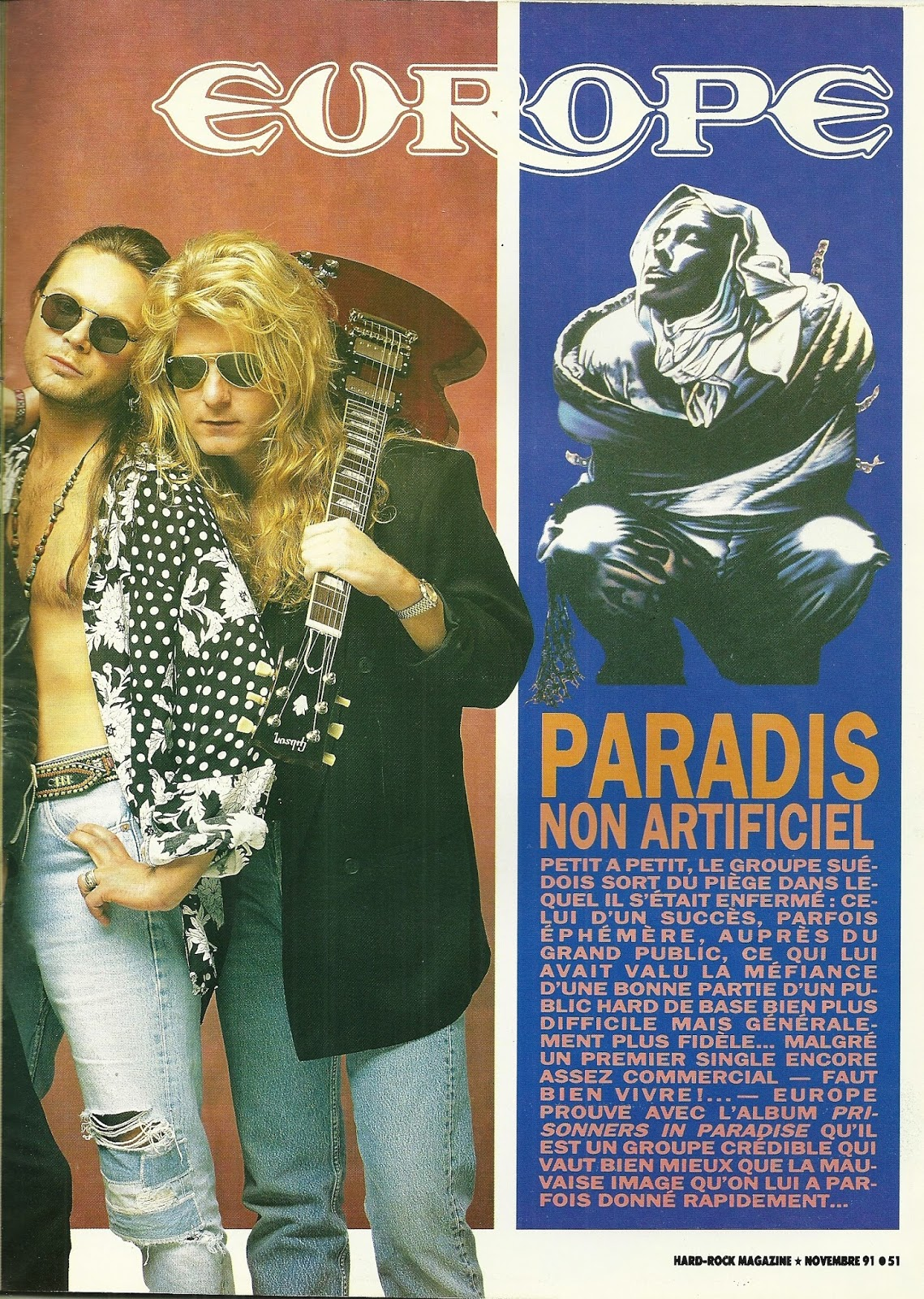 "EUROPE : Paradis non artificiel (""Hard Rock Magazine"" Novembre 1991) Archive à lire Numzor11"
