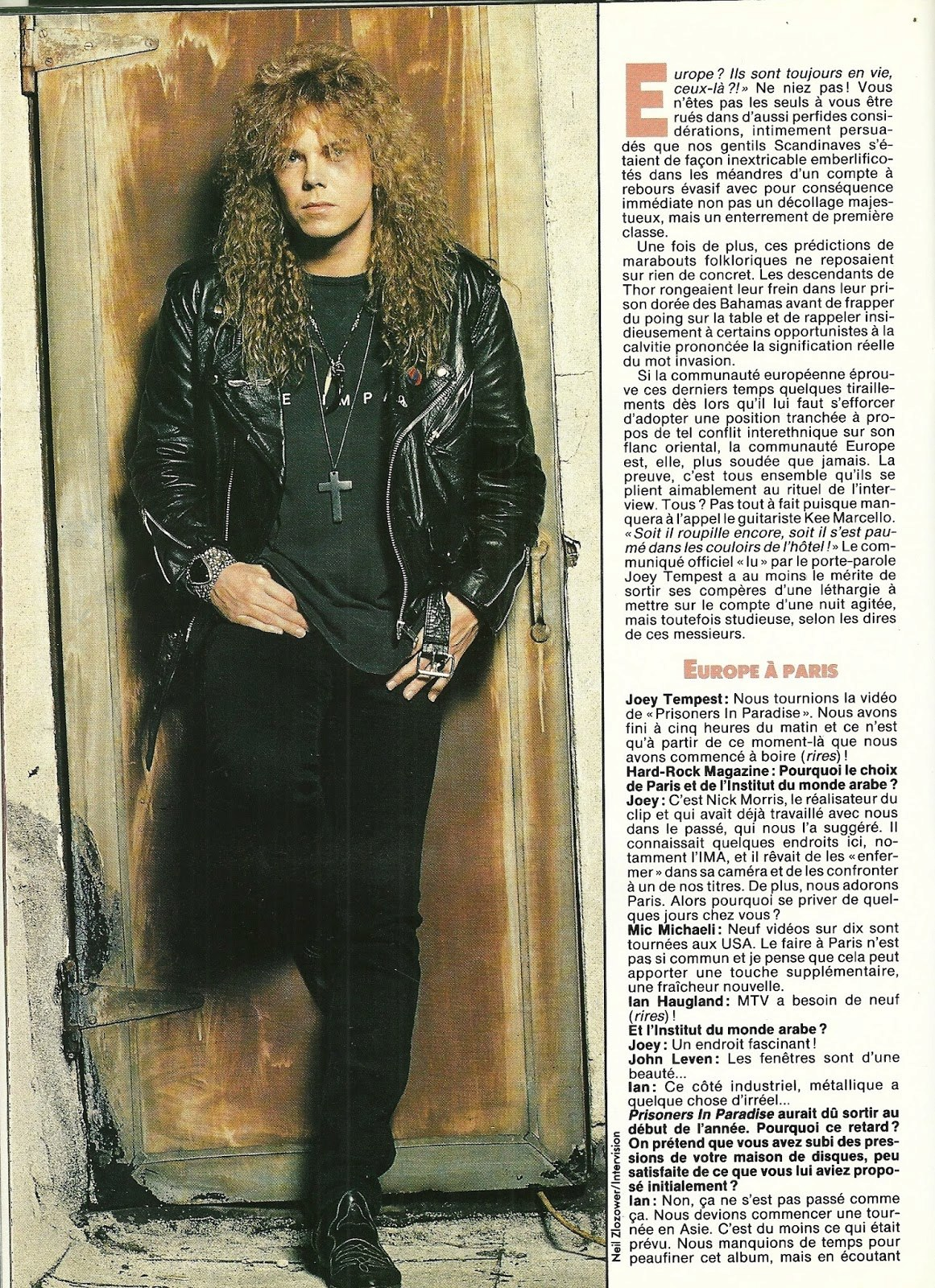 "EUROPE : Paradis non artificiel (""Hard Rock Magazine"" Novembre 1991) Archive à lire Numzor12"