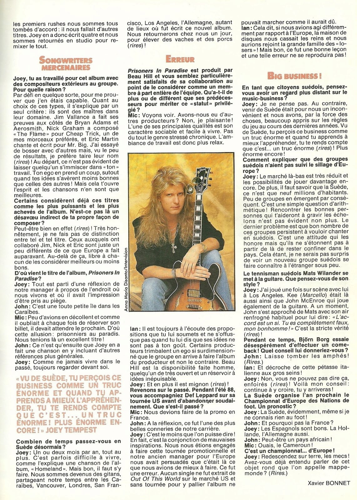 "EUROPE : Paradis non artificiel (""Hard Rock Magazine"" Novembre 1991) Archive à lire Numzor13"