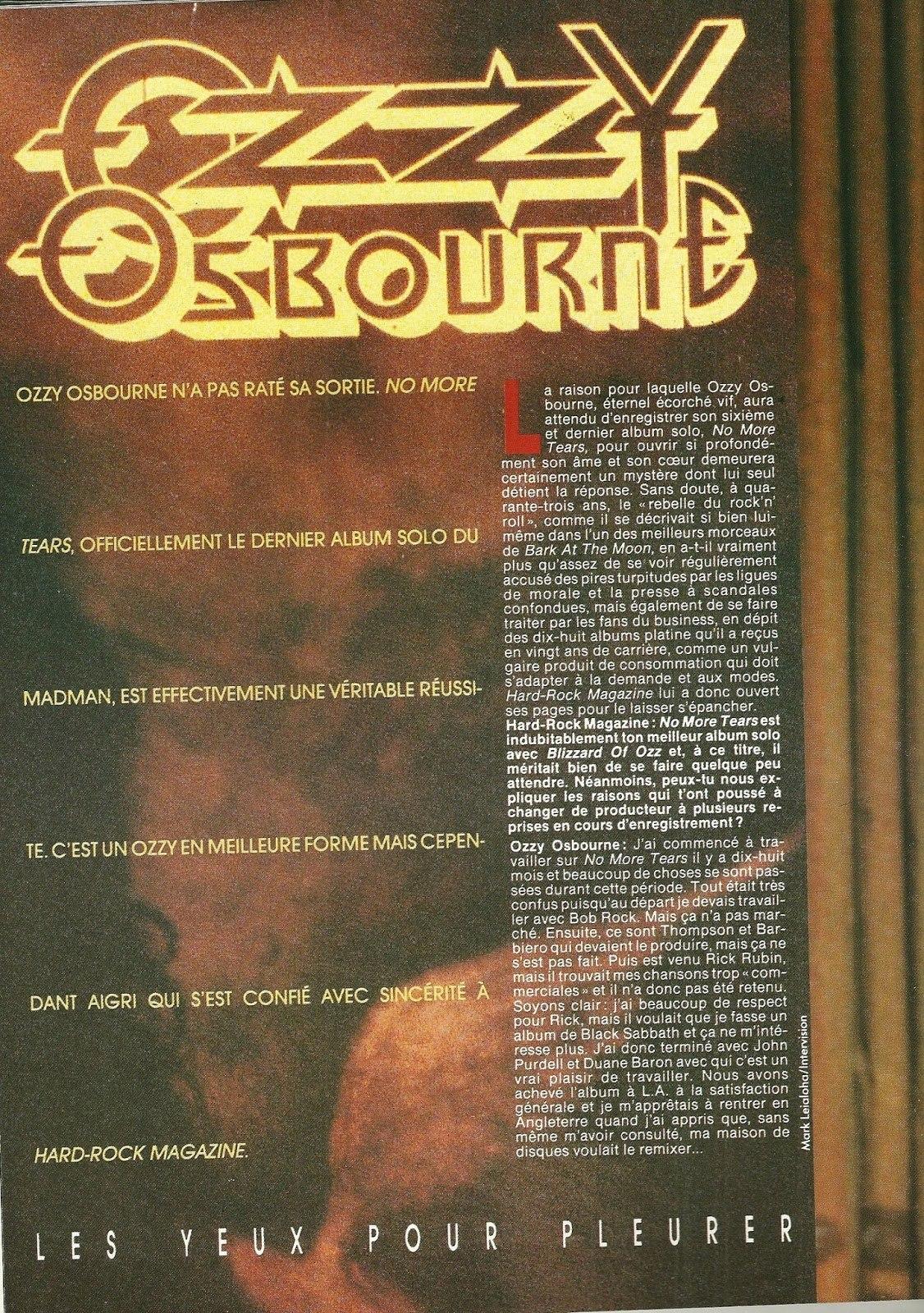 """OZZY OSBOURNE : Les yeux pour pleurer (""""Hard Rock Magazine"""" Novembre 1991) Archive à lire Numzor14"""