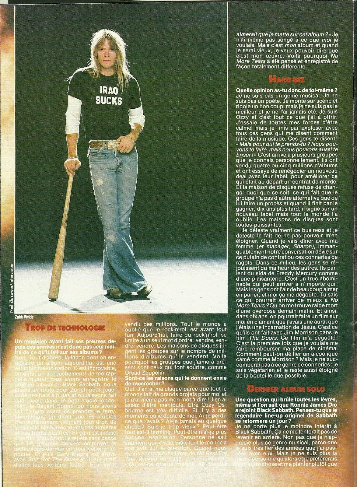 """OZZY OSBOURNE : Les yeux pour pleurer (""""Hard Rock Magazine"""" Novembre 1991) Archive à lire Numzor16"""