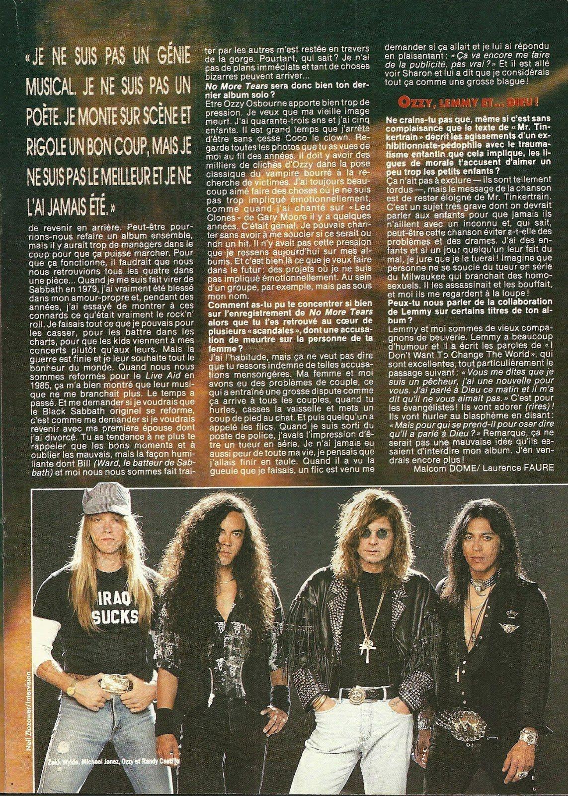 """OZZY OSBOURNE : Les yeux pour pleurer (""""Hard Rock Magazine"""" Novembre 1991) Archive à lire Numzor17"""