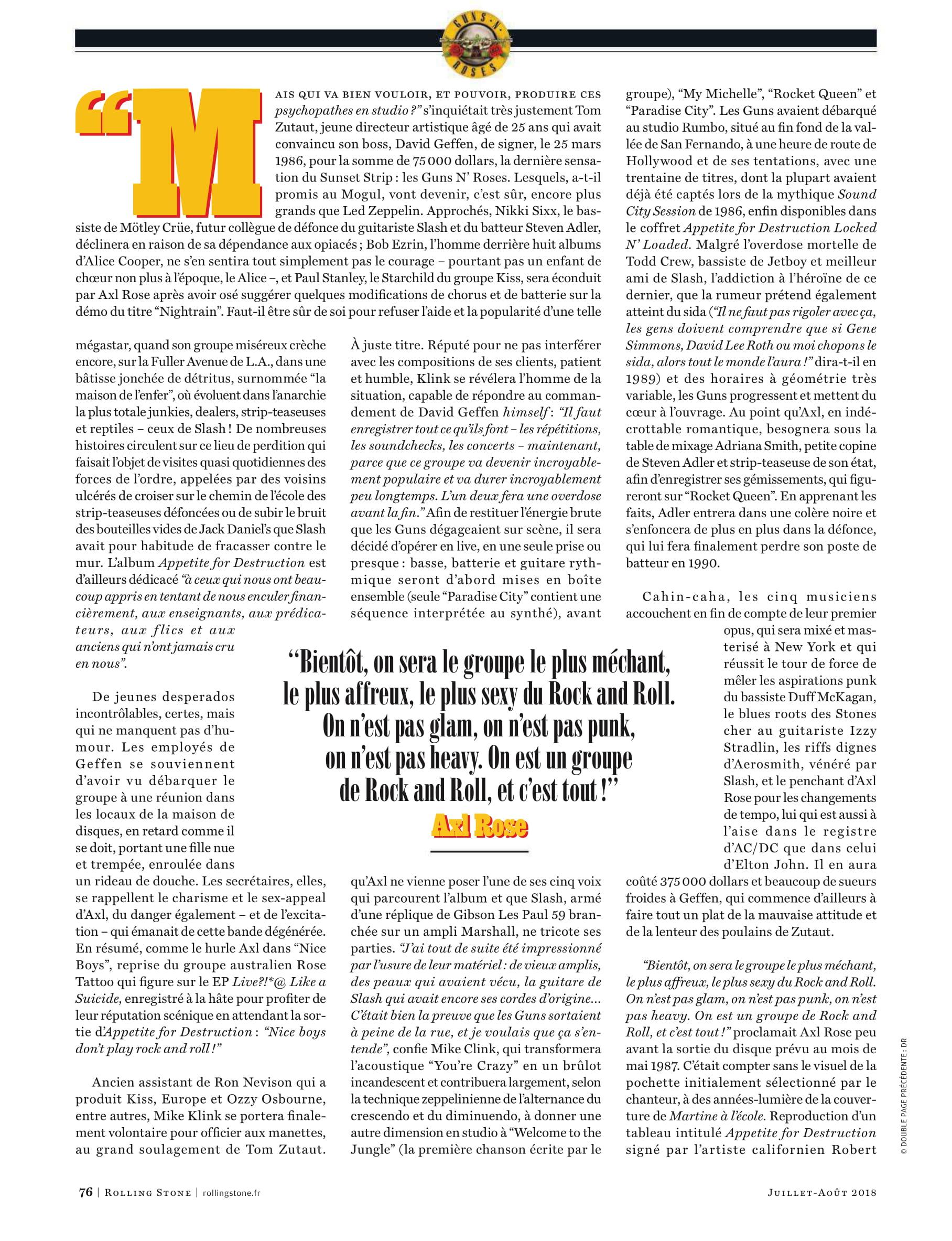 GUNS N'ROSES Dans les cuisines d'APPETITE (article dans Rolling Stone) Archive à lire Rollin10