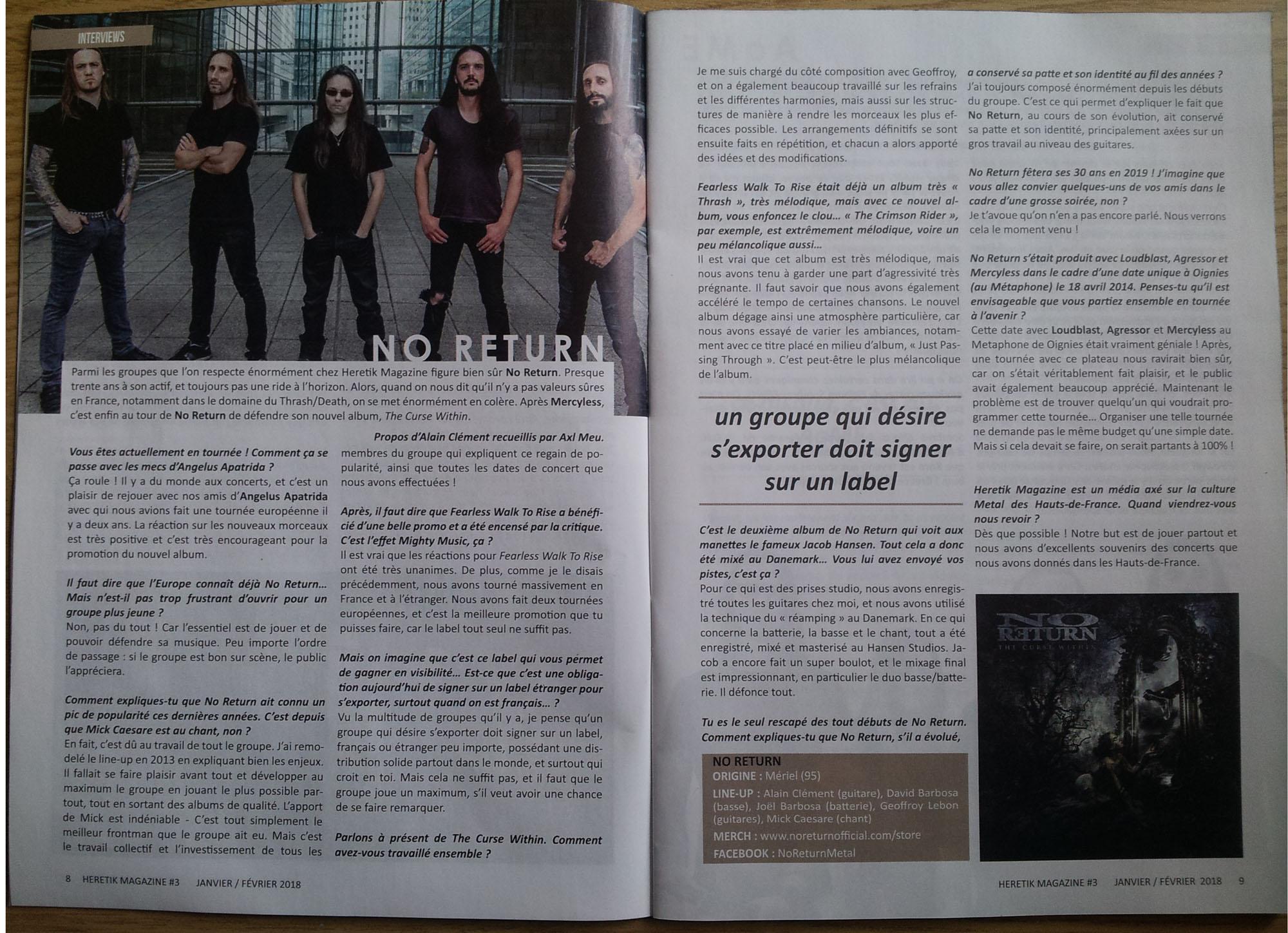 Interview de NO RETURN sur le gratuit HERETIK n°3 (Janvier/Février 2018) Sans_148
