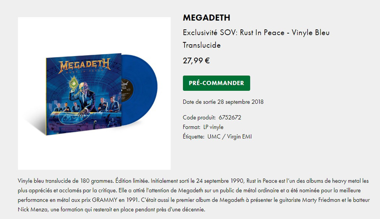 MEGADETH Rust in Peace (1990-2018) Réédition vinyle bleu Sans_162