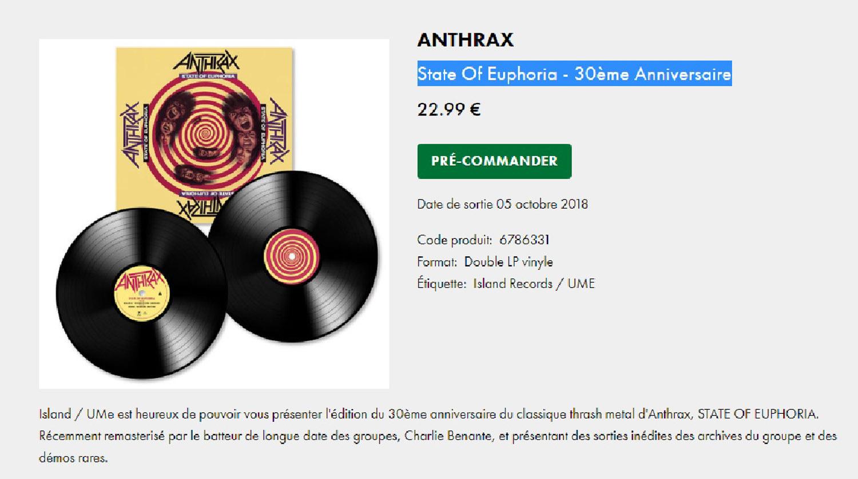 ANTHRAX State Of Euphoria - 30ème Anniversaire (1988-2018) Réédition Vinyle x 2 Sans_163
