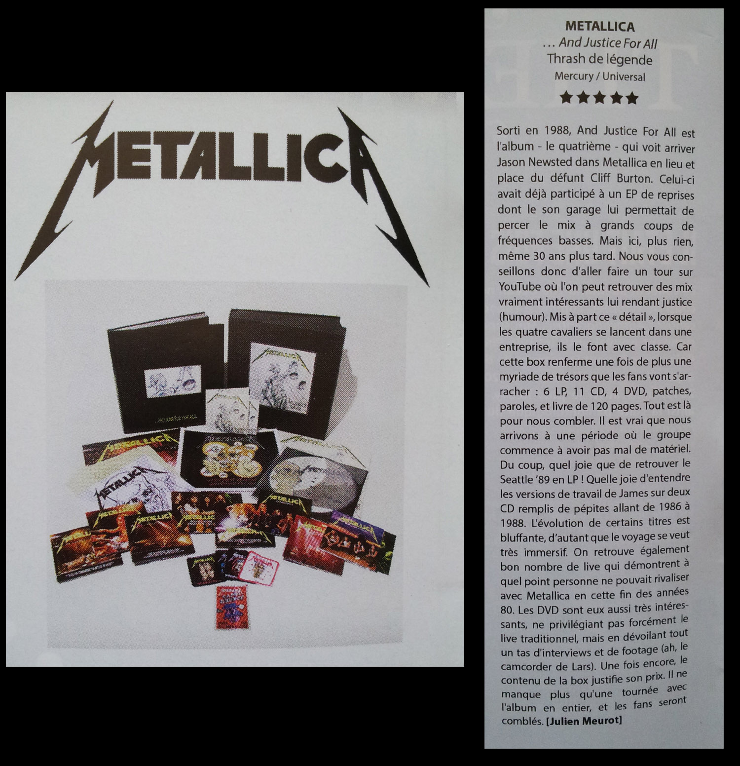 "METALLICA ""and justice for all ""20éme anniv' super coffret de luxe nob 2018 Sans_194"