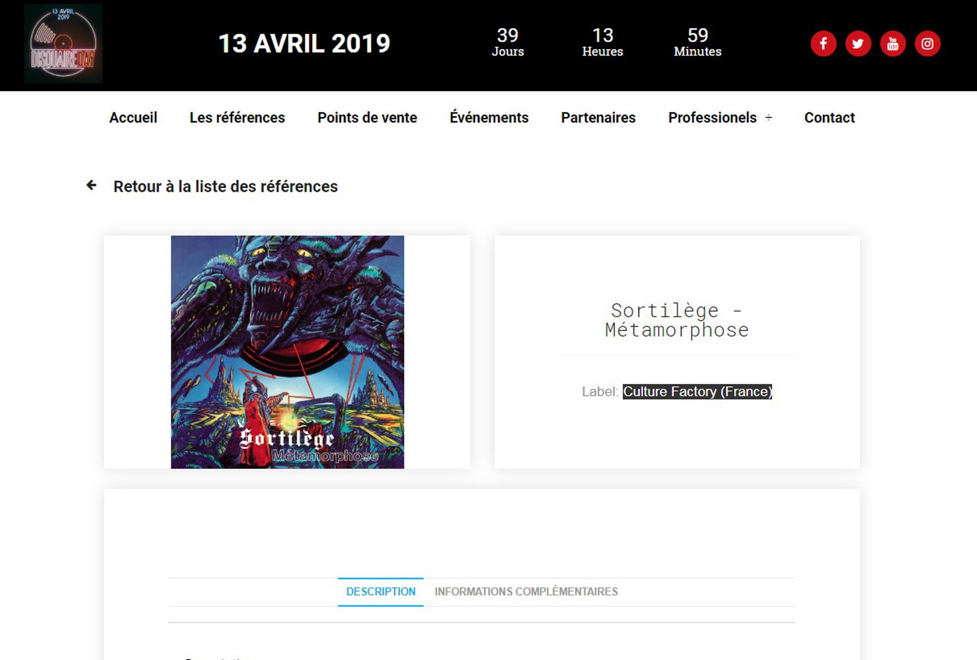 SORTILEGE Métamorphose en réédition 1000 copies pour le Disquaire Day 2019 ... Sans_212