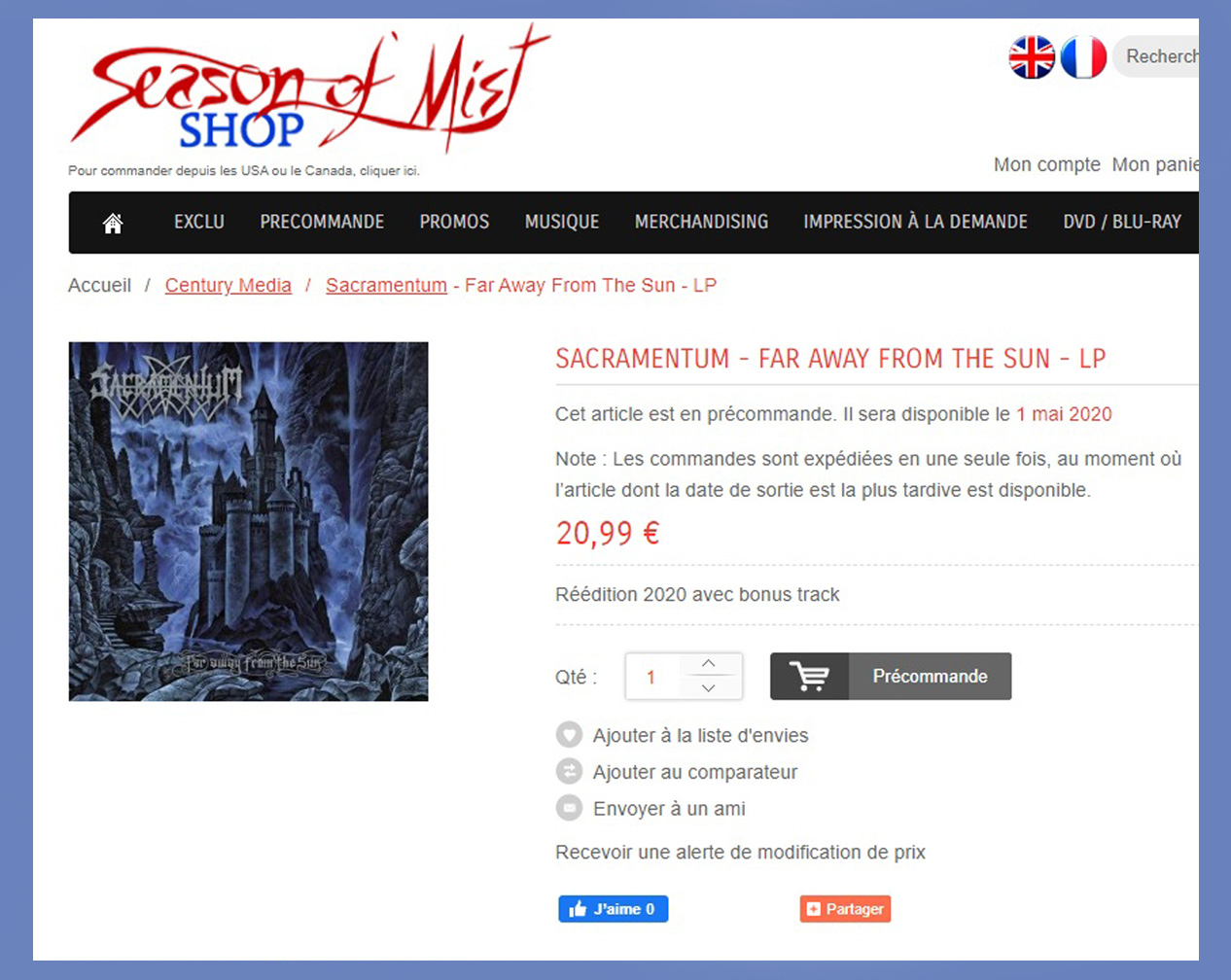 Réédition de l'album de SACRAMENTUM Far Away From The Sun (1996-2020) Black Metal Suède Sans_273
