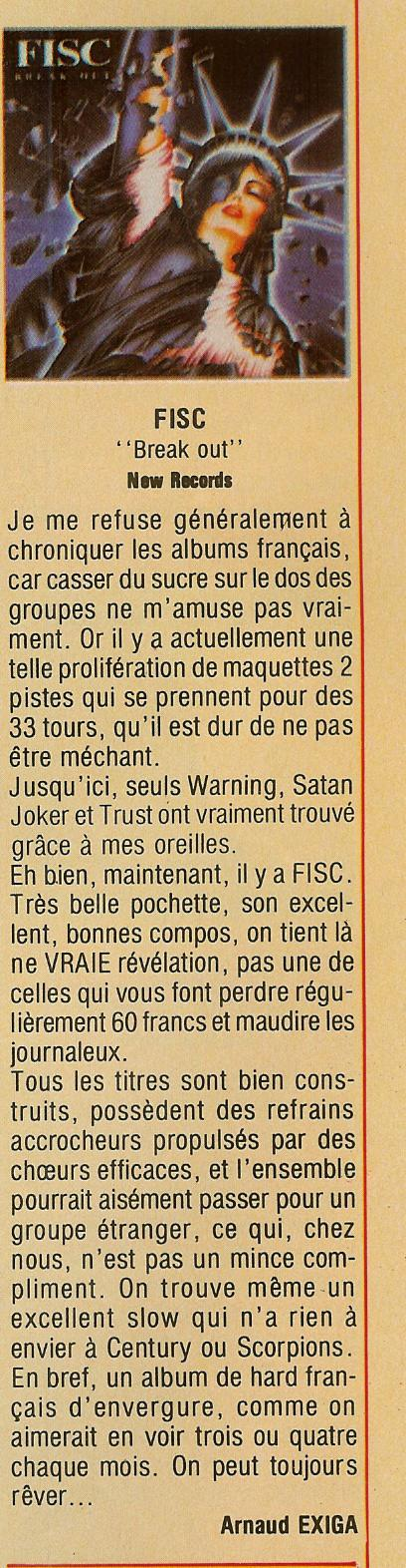 Chronique FISC Break Out (1985) Archive Metal Attack Février 1986 Scan0014