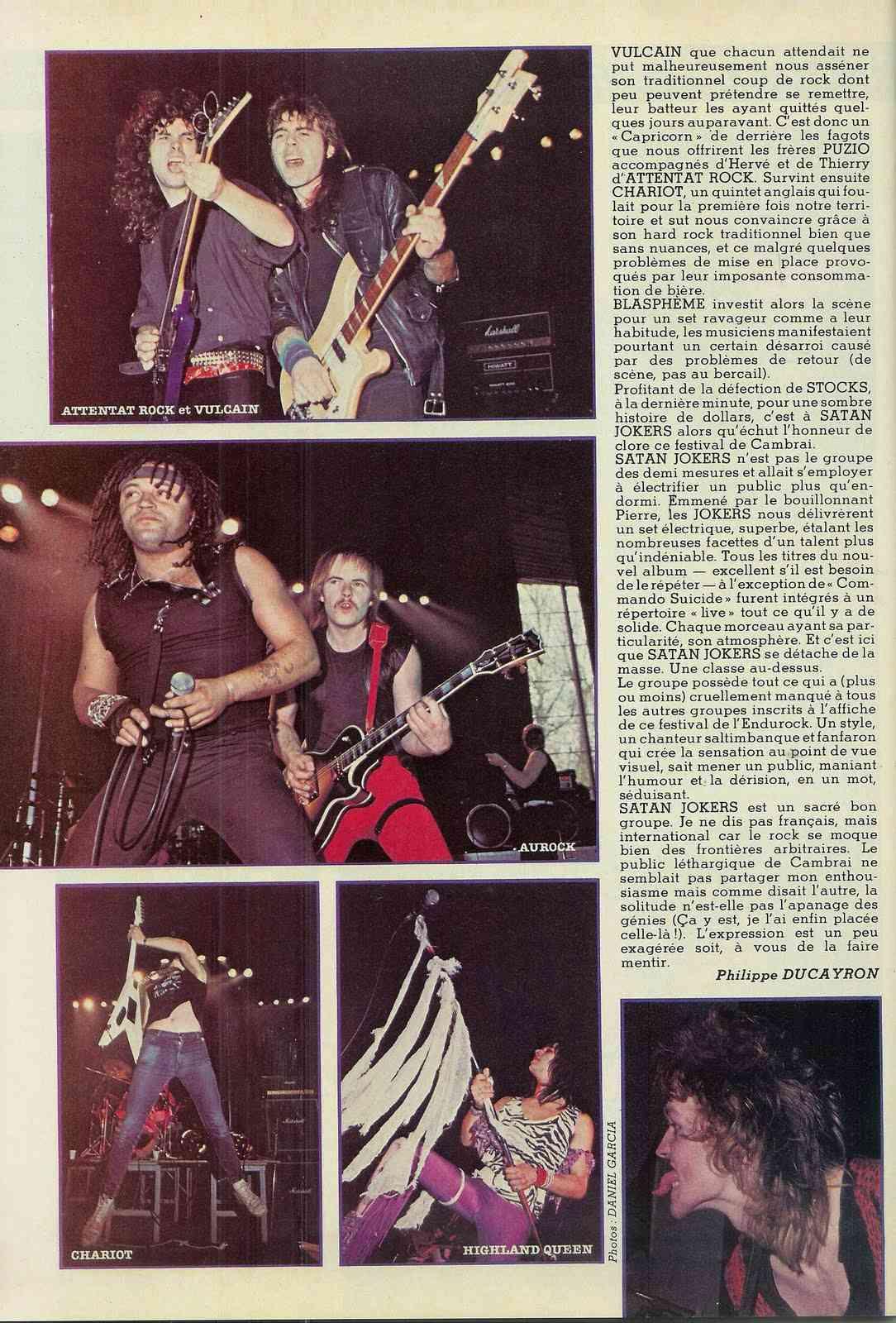 L'Endurock Festival (Cambrai) le 21 avril 1985 Archive Enfer Magazine Juin 1985  Scan0015