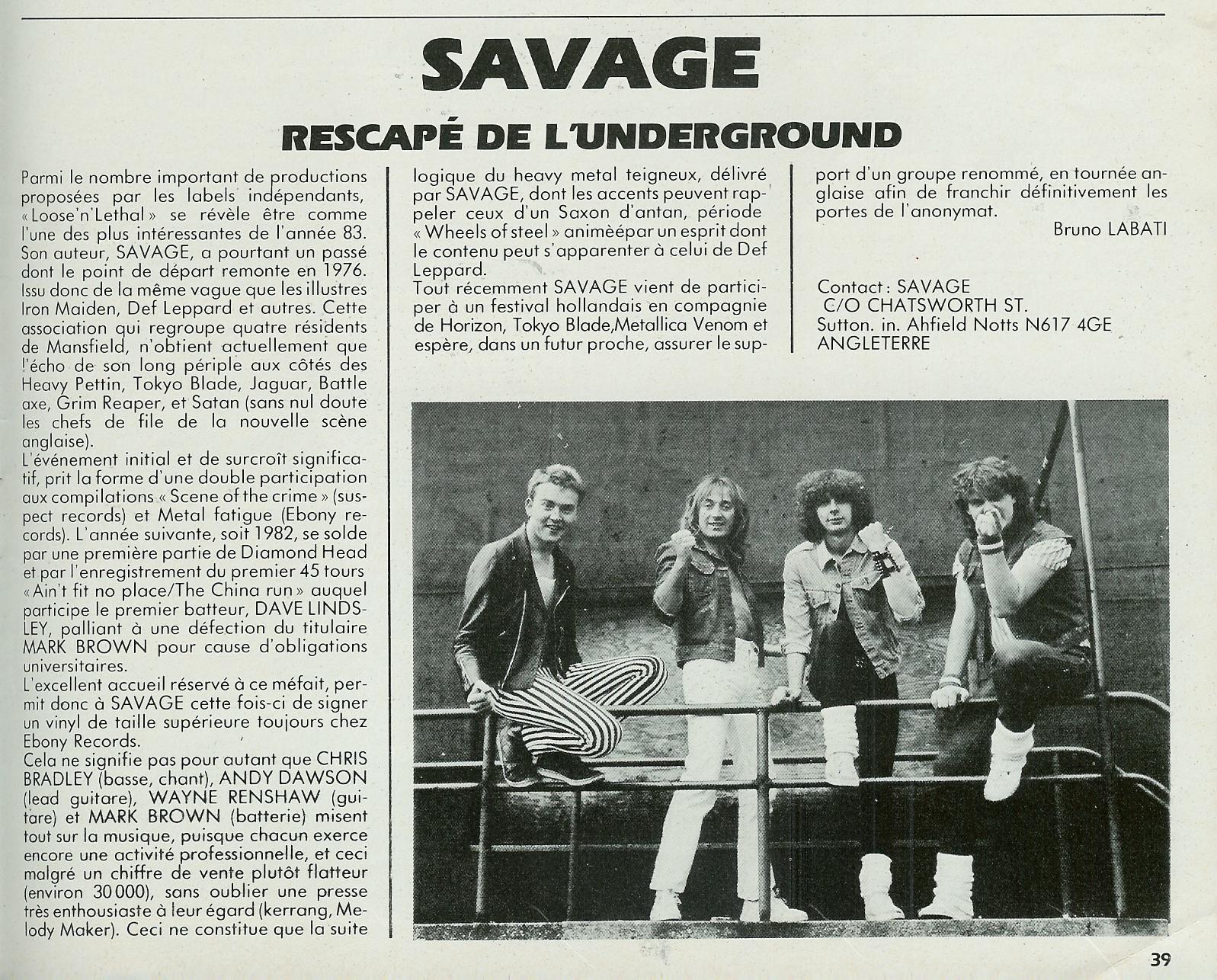 SAVAGE Loose 'N Lethal (1983) Heavy Metal ANGLETERRE Scan0019