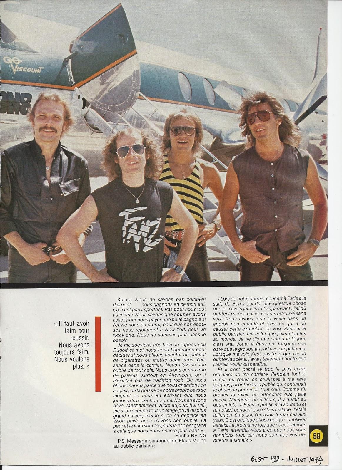 SCORPIONS L'ouragan (archive BEST Juillet 1984) Scorpi16