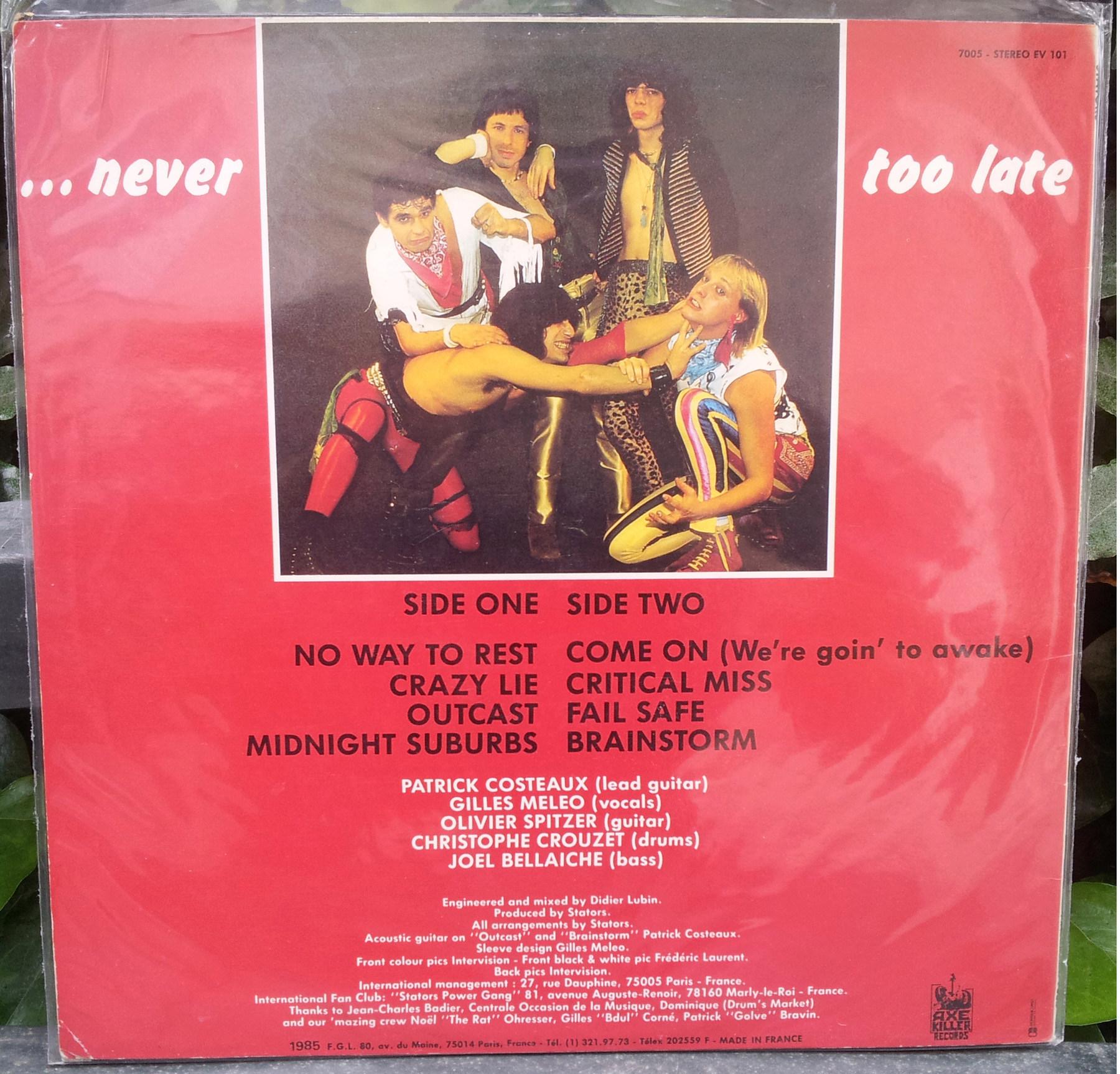 STATORS ... Never Too Late (1986) le vinyle vu de plus près ... Stator13