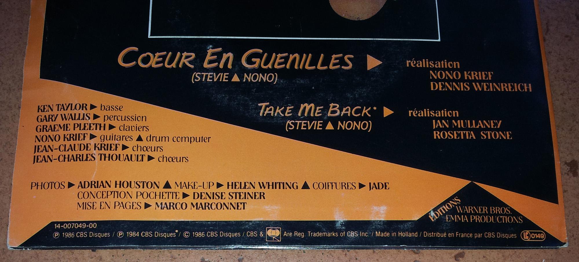 STEVIE Coeur en guenilles (1986) 45 tours - le vinyle vu de plus près ...  Stevie10