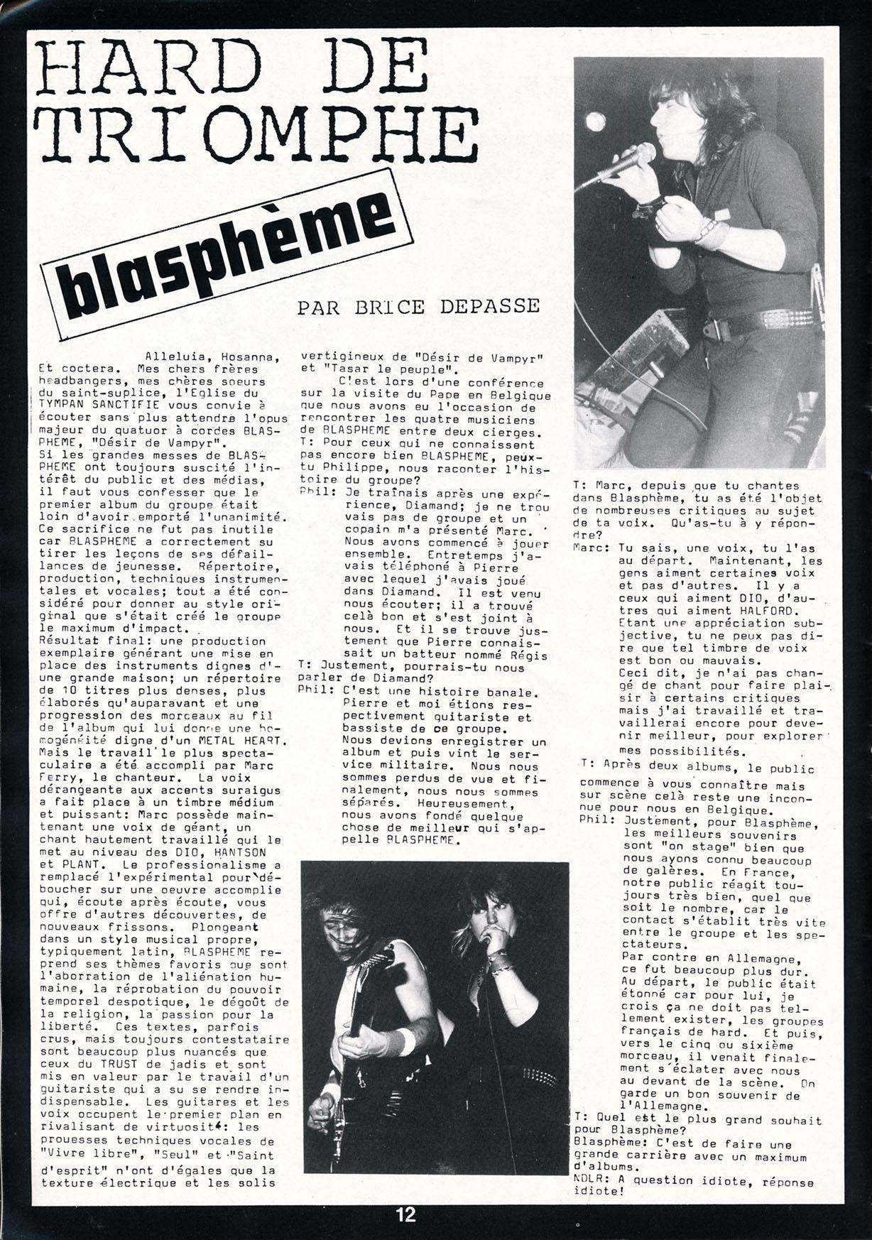 Interview BLASPHEME dans le Fanzine TYMPANS (Juillet Aout 1985) N°8 Archive à lire Tympan11
