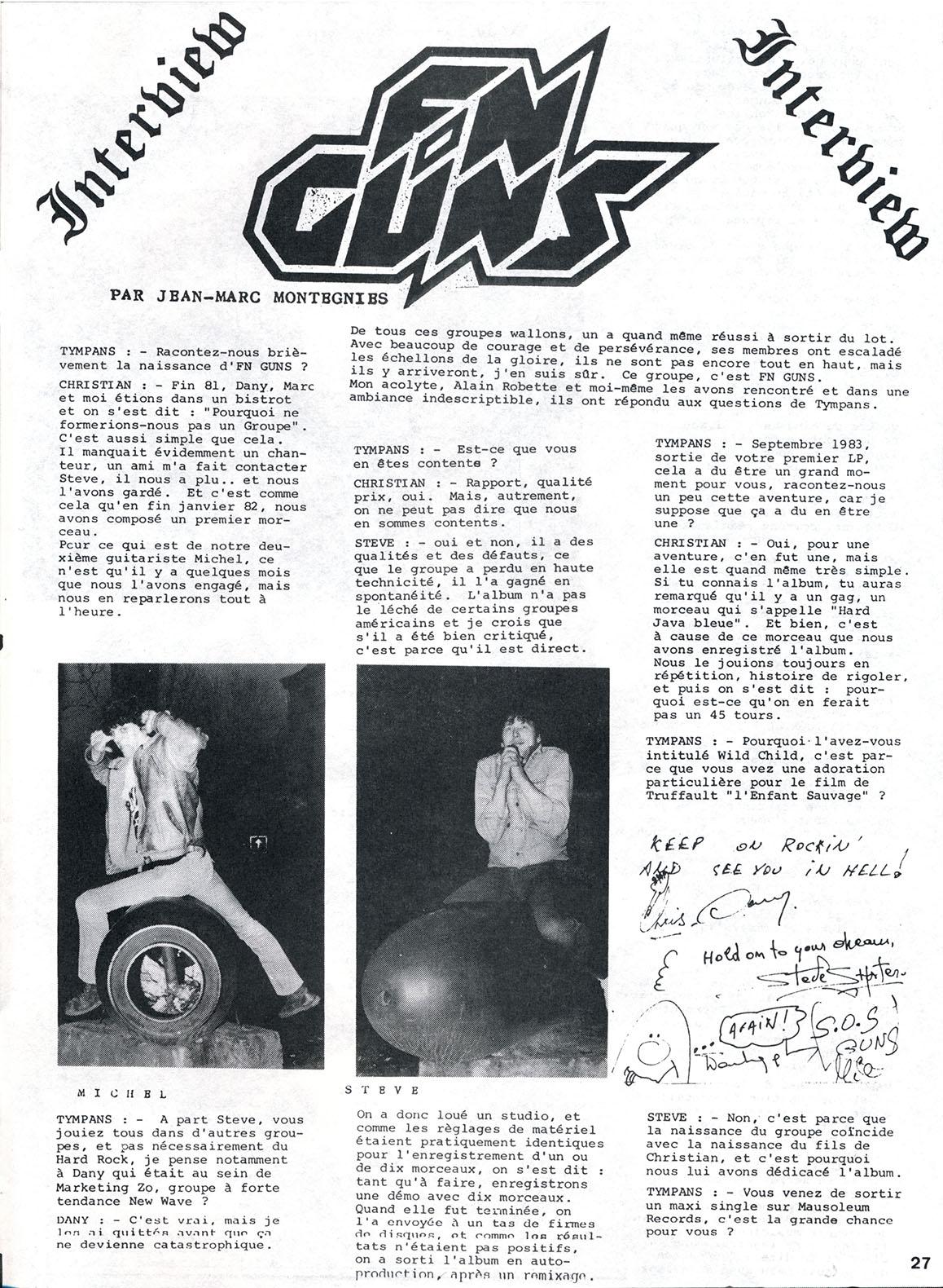 FM-GUNS interview dans le fanzine TYMPANS n°1 (1984) Archive Tympan12