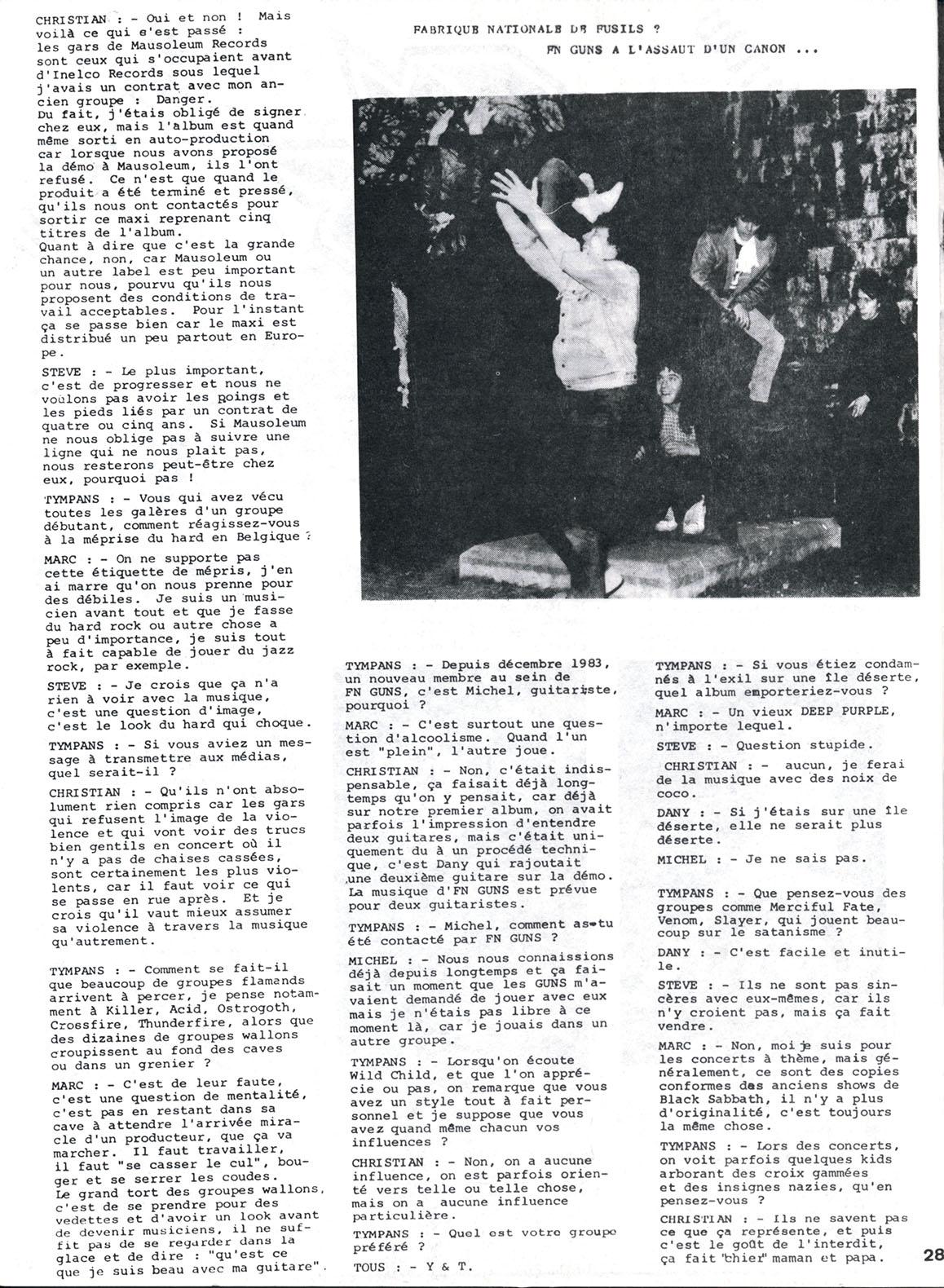 FM-GUNS interview dans le fanzine TYMPANS n°1 (1984) Archive Tympan13
