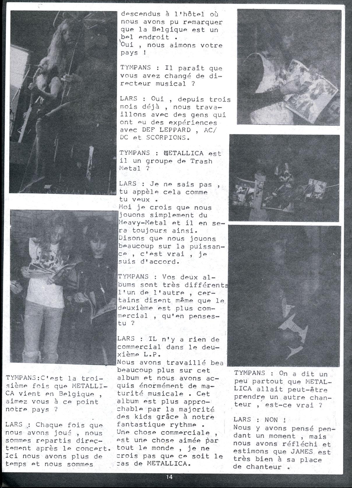 Interview METALLICA dans le Fanzine TYMPANS n°4 (Janvier-Février 1985) Tympan15