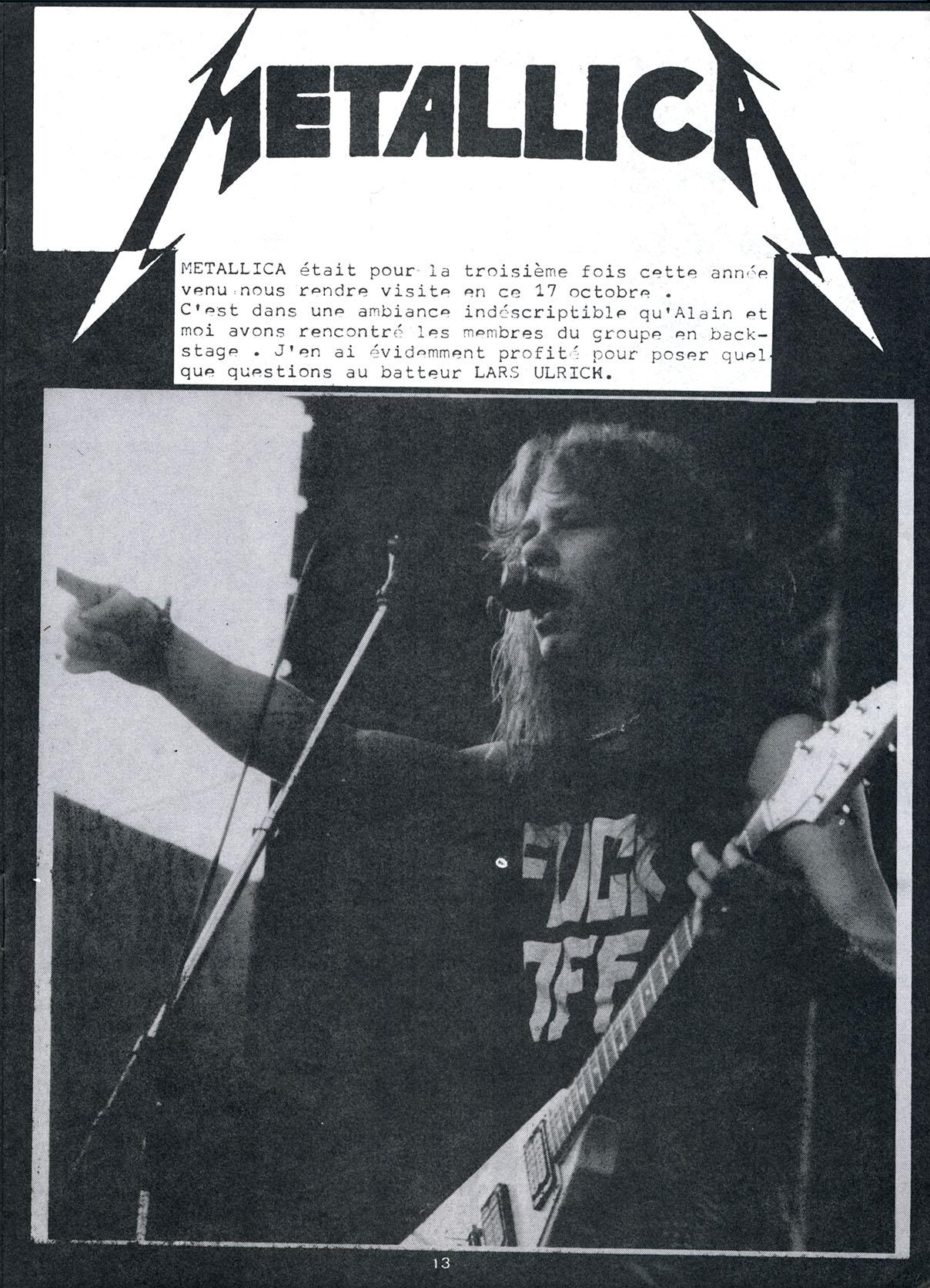 Interview METALLICA dans le Fanzine TYMPANS n°4 (Janvier-Février 1985) Tympan16