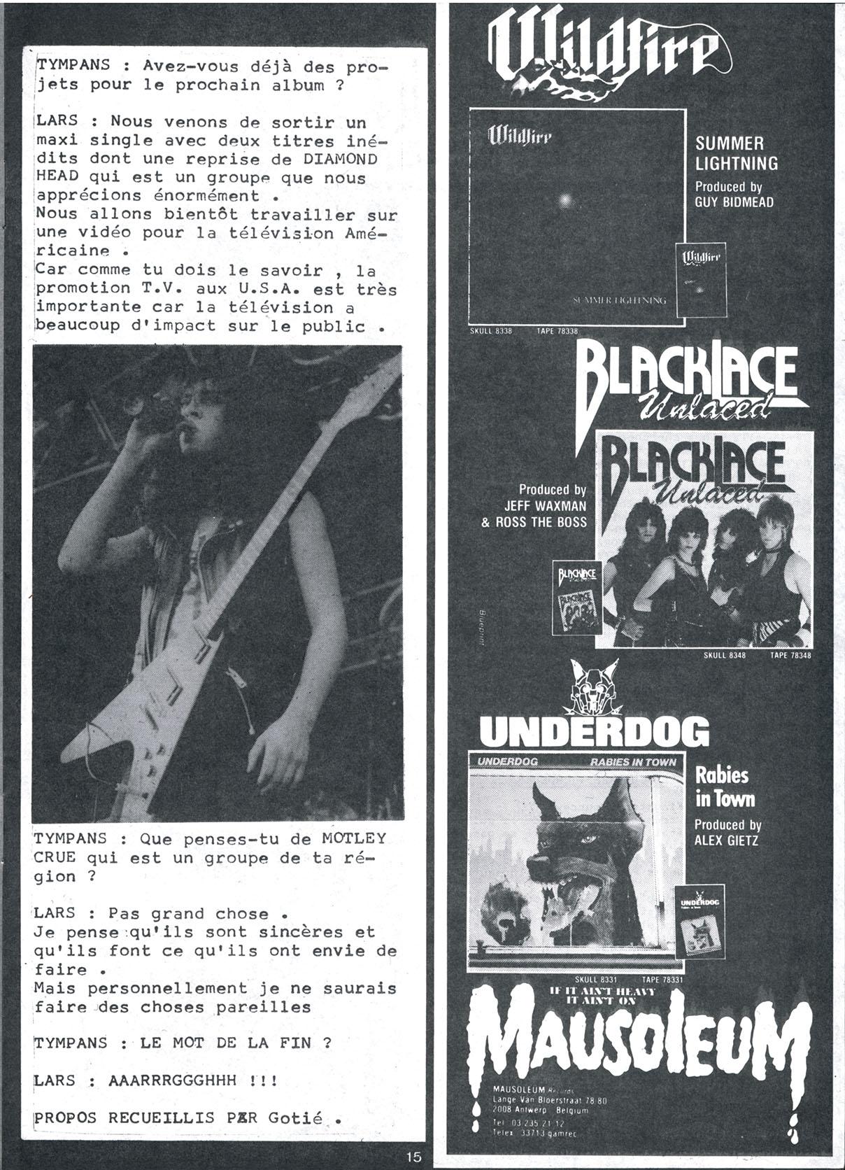 Interview METALLICA dans le Fanzine TYMPANS n°4 (Janvier-Février 1985) Tympan18