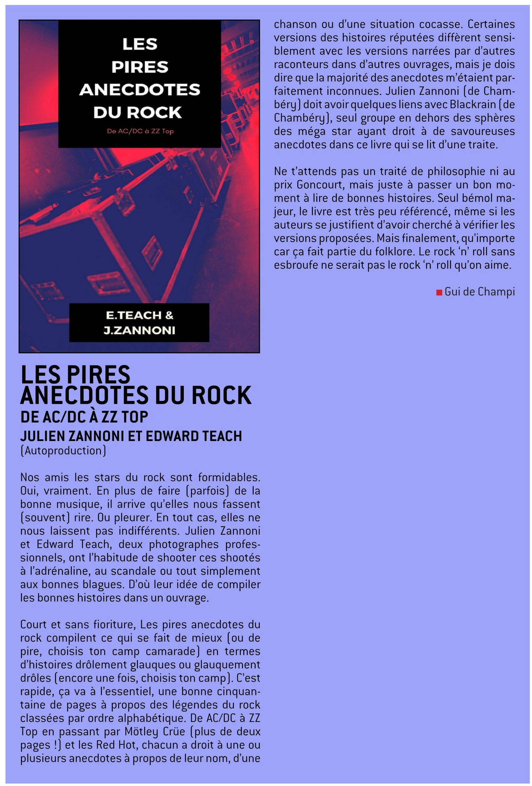 LES PIRES ANECDOTES DU ROCK Julien Zannoni et Edward Teach (2020) Livre  W-fene67