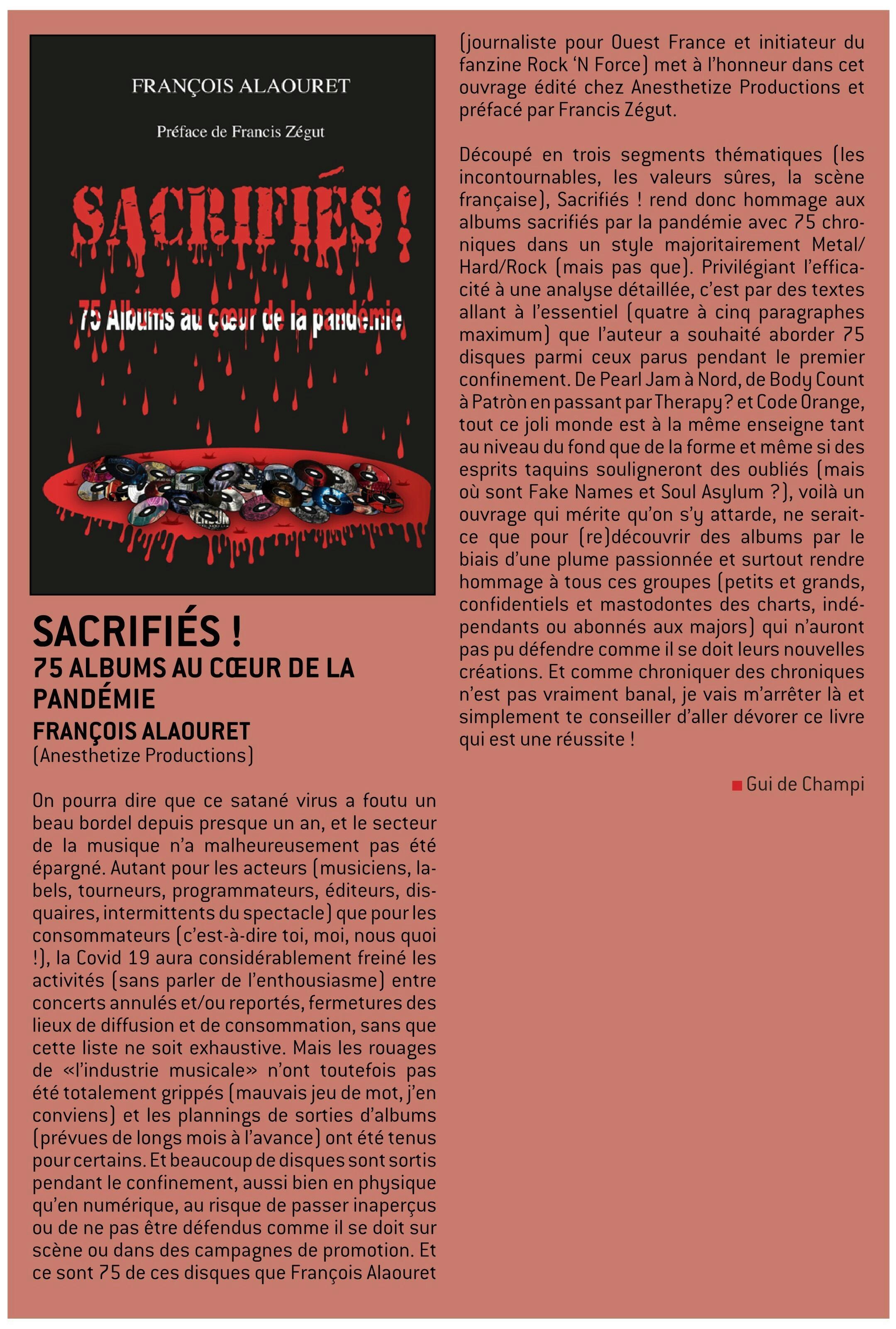Sacrifiés ! 75 albums au coeur de la pandémie François Alaouret (2020) Livre W-fene68